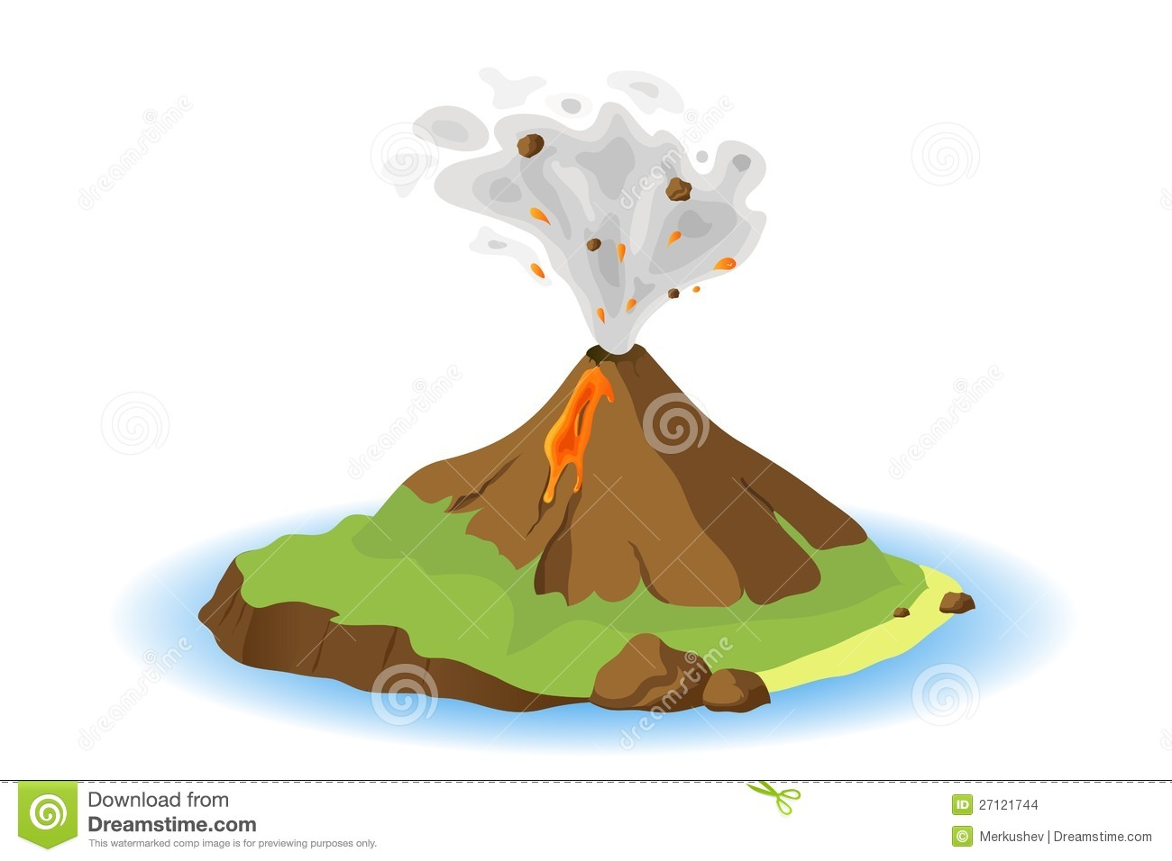 Volcano erupting on island, vector illustration.