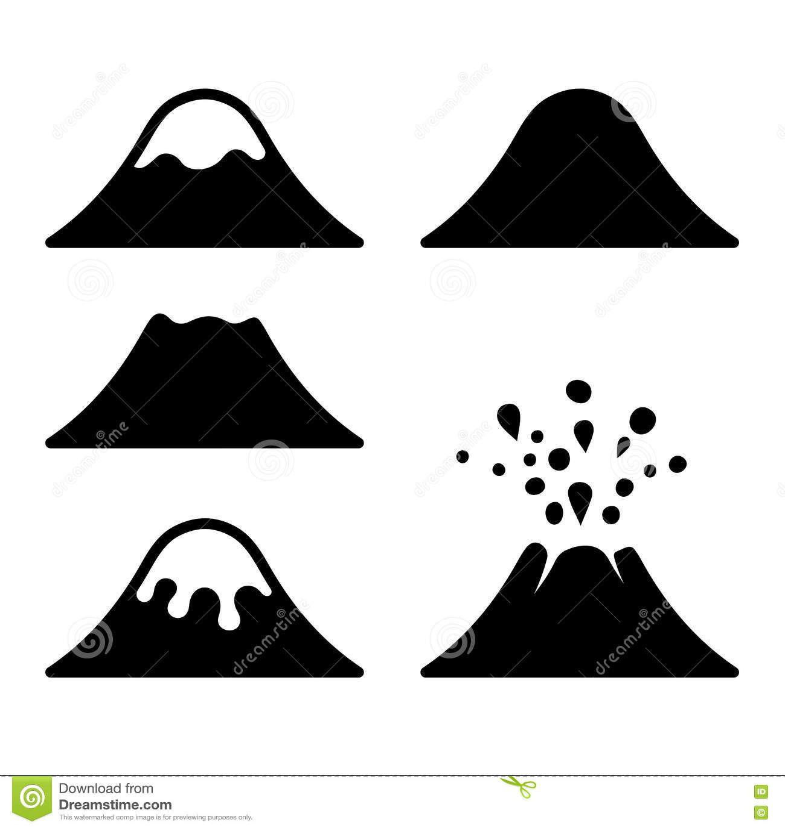 Volcano Symbol Volcano Icons Set. Vec...
