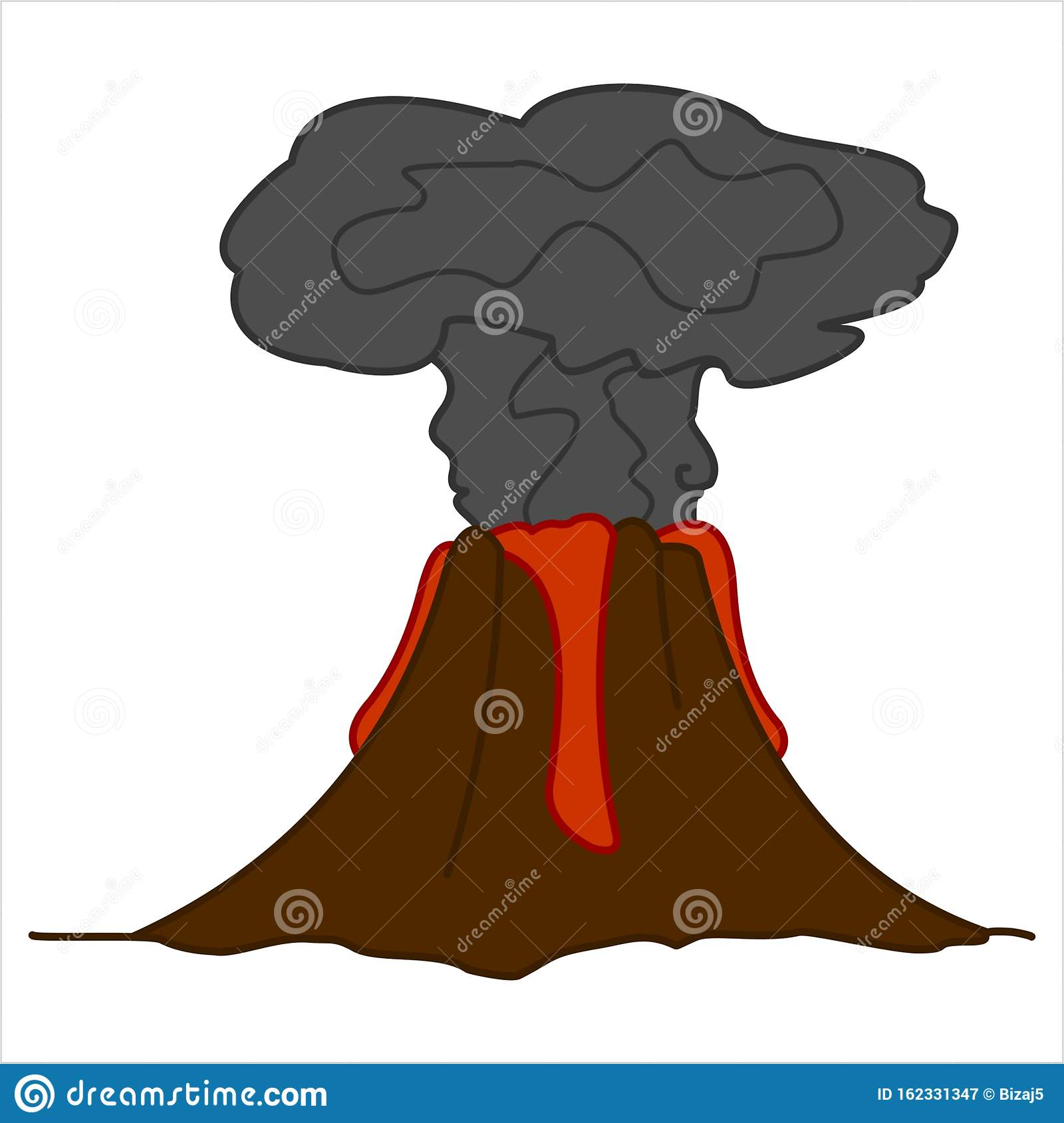 Volcano With Lava And A Column Of Smoke Volcanic Eruption For