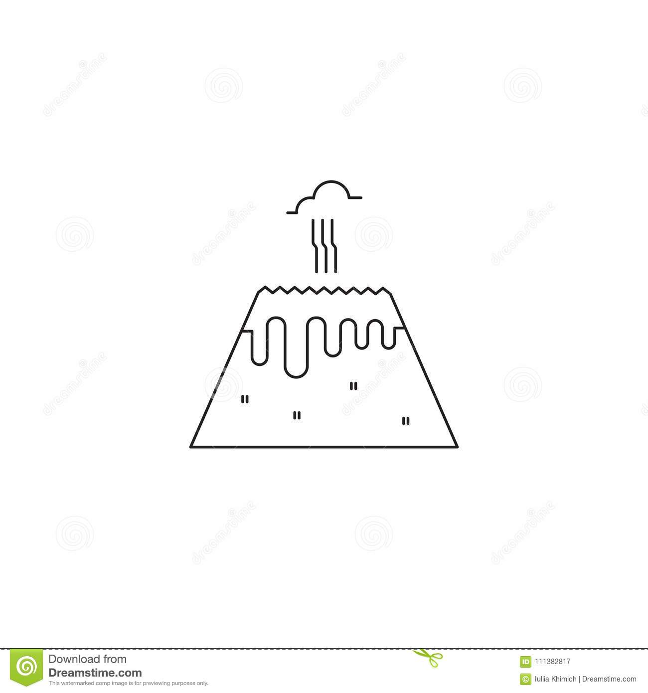 Volcano line icon stock vector illustration of illustration 111382817 volcano vector thin line icon isolated symbol logo template element for travel agency products tour brochure excursion banner maxwellsz
