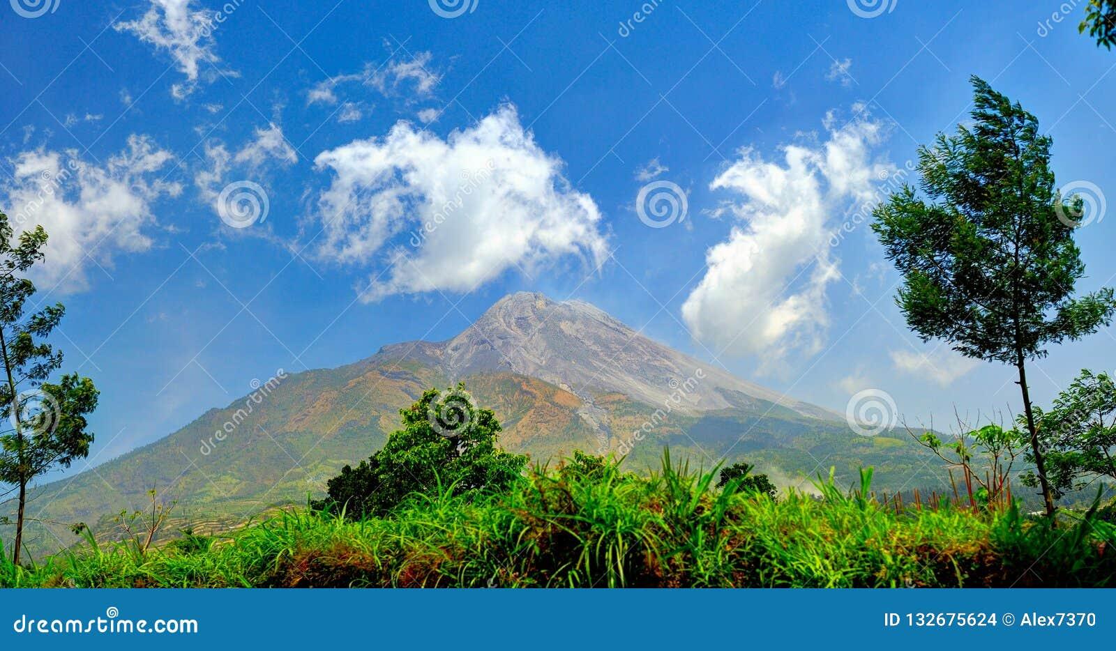 Volcano of Merapi in Central Java, Indonesia 2012