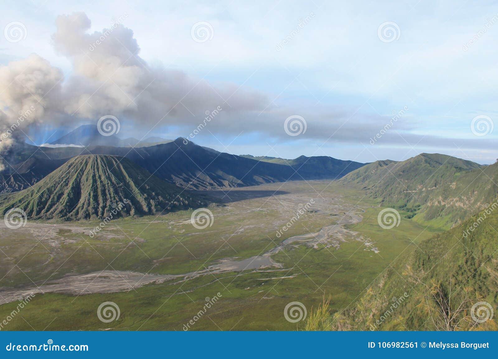 Volcano Mount Bromo Eruption, Java Indonesia