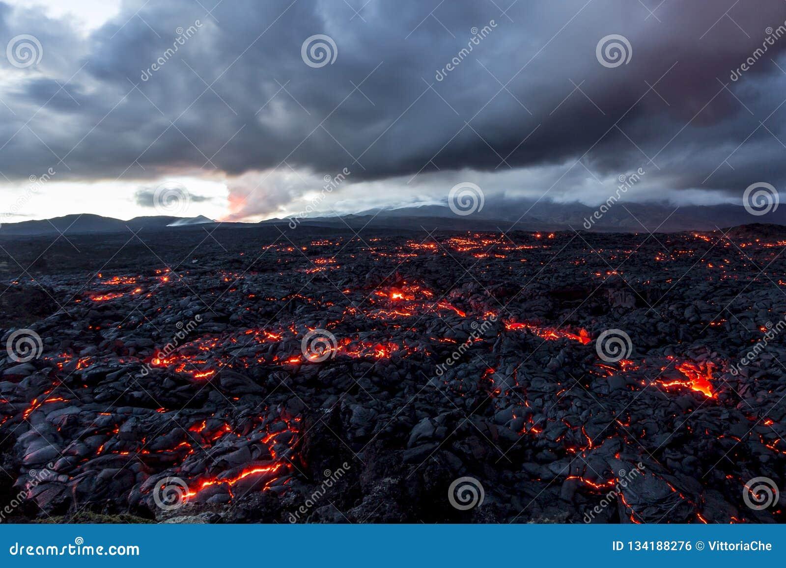 Volcano Tolbachik Lava Fields Ryssland Kamchatka, slutet av utbrottet av vulkan Tolbachik