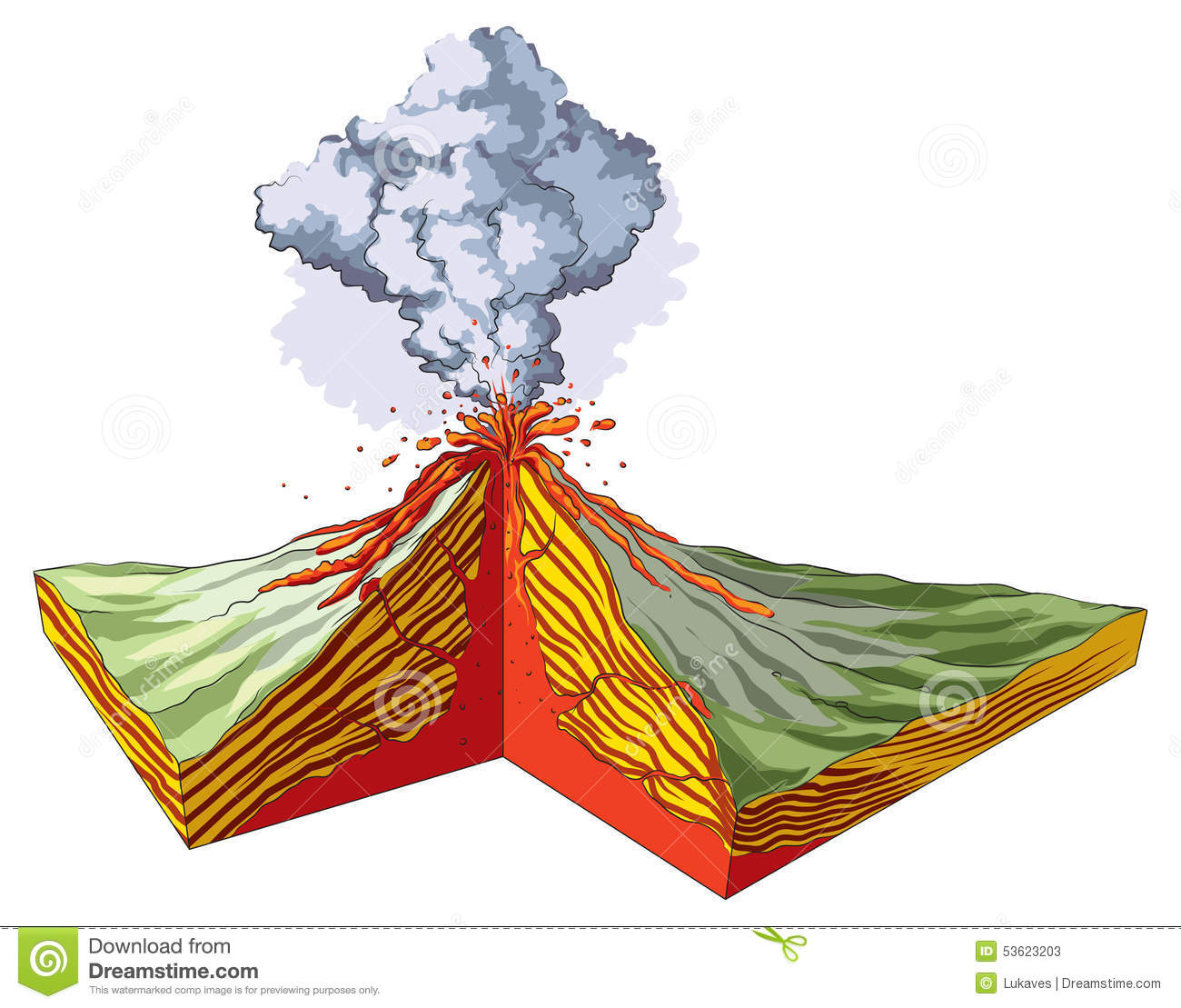 Volcano stock vector illustration of divergent smoke 53623203 ccuart Image collections