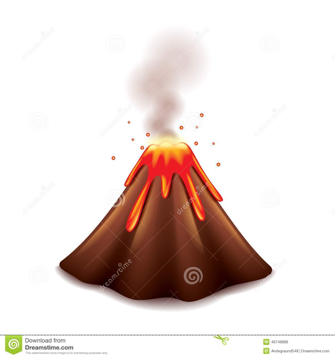 Volcano On White Vector Stock Vector - Image: 49749686
