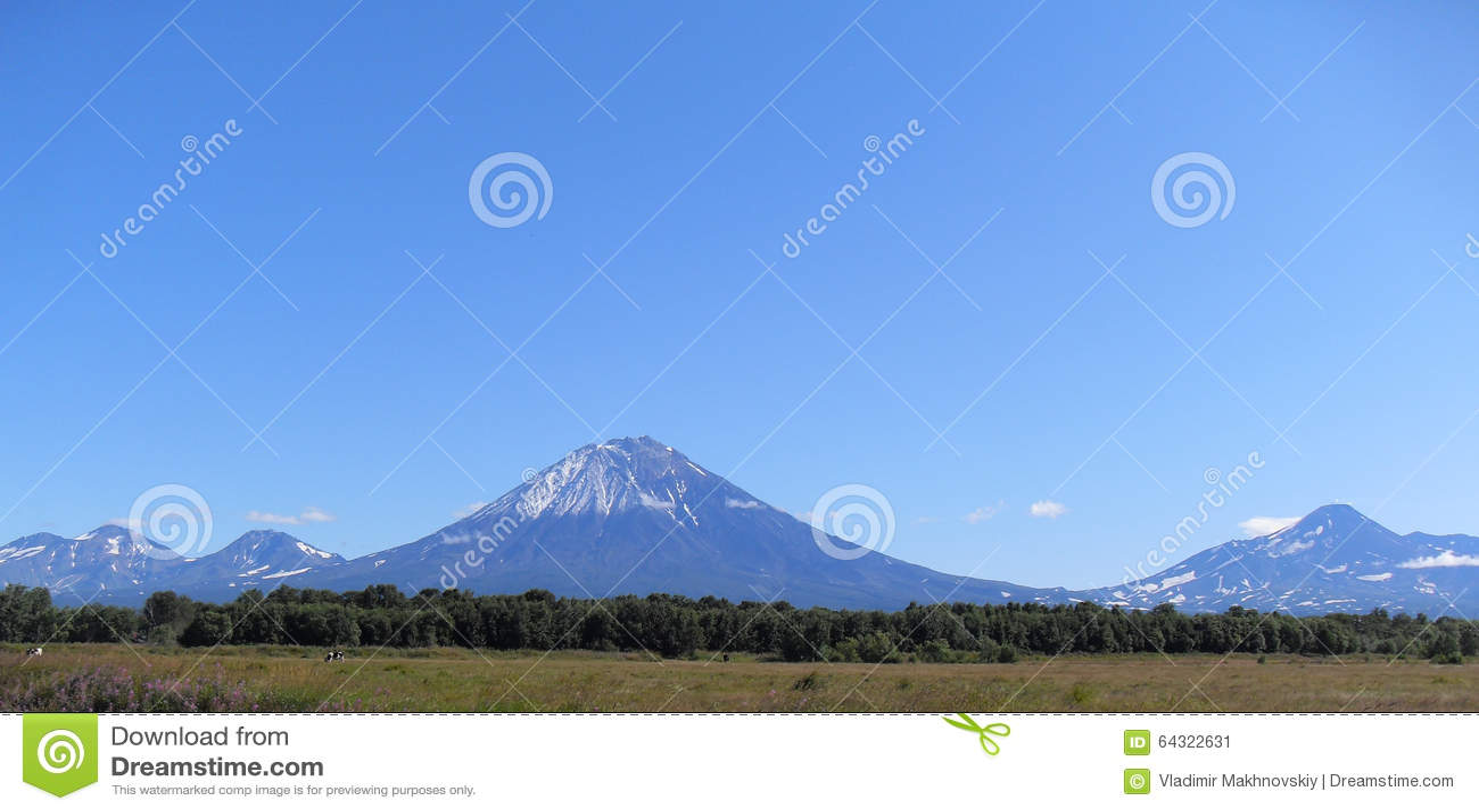 Volcanoes of Kamchatka in the summer