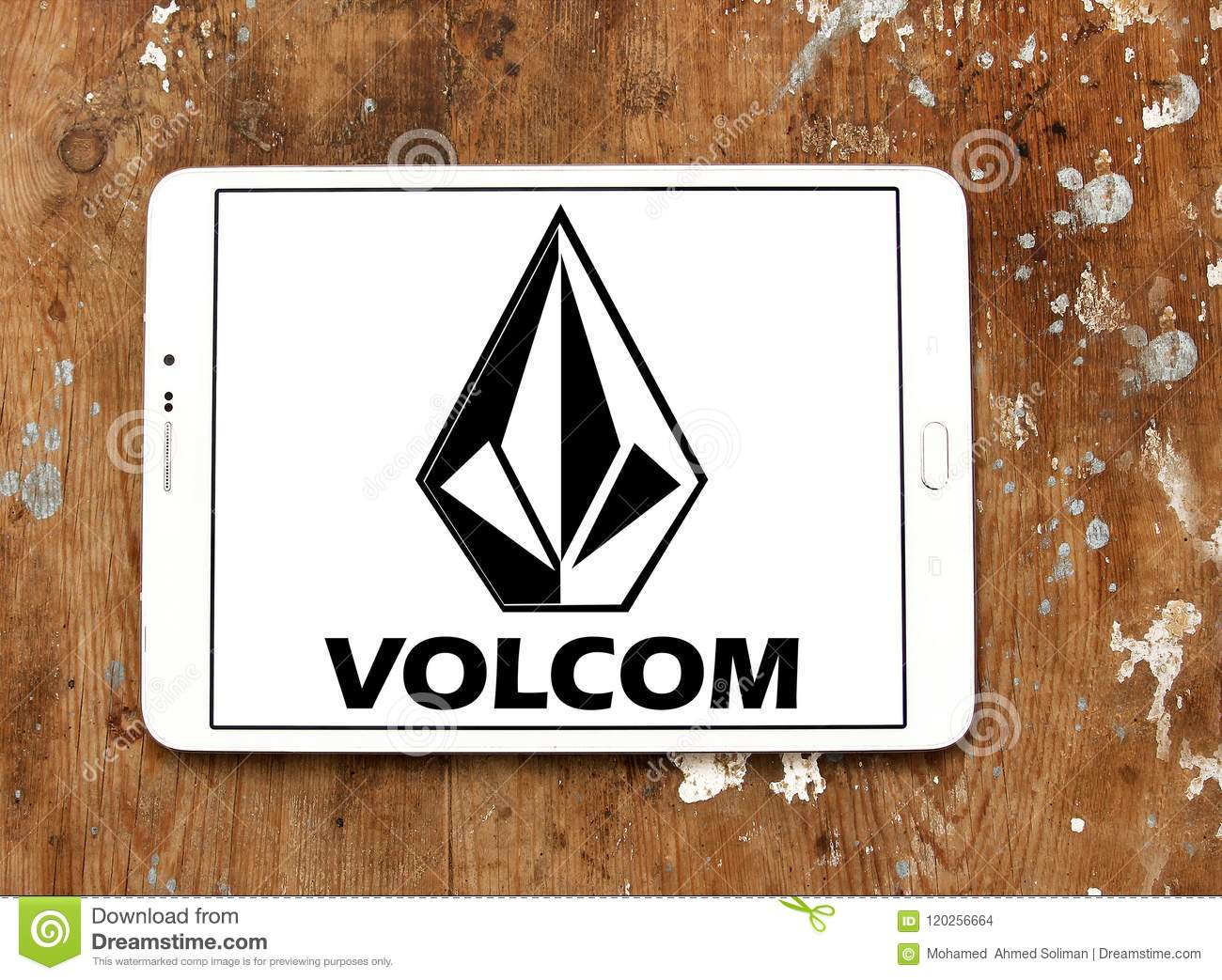 ba55d2145cd6 Logo of Volcom clothing brand on samsung tablet. Volcom is a lifestyle  brand that designs, markets, and distributes boardsports oriented products.