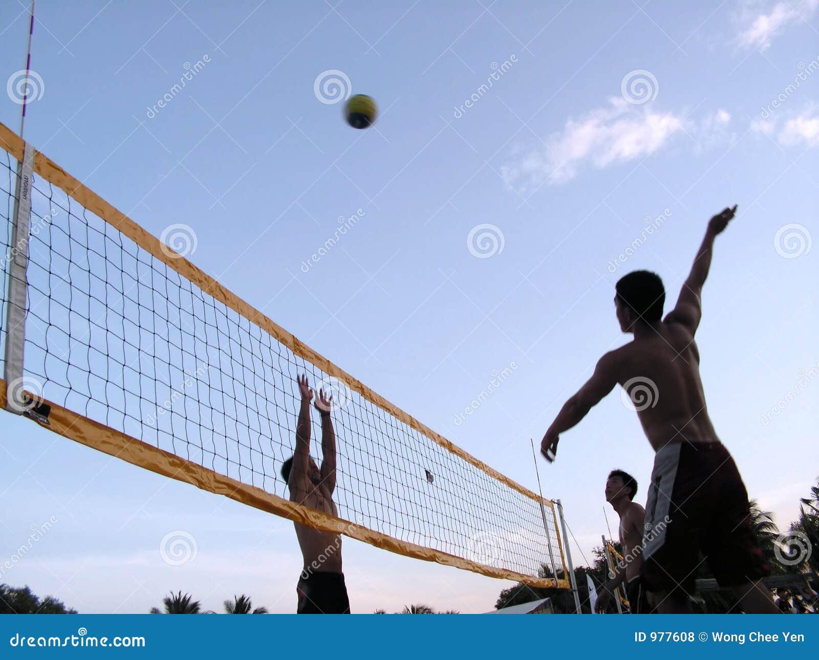 Voleibol no crepúsculo do por do sol