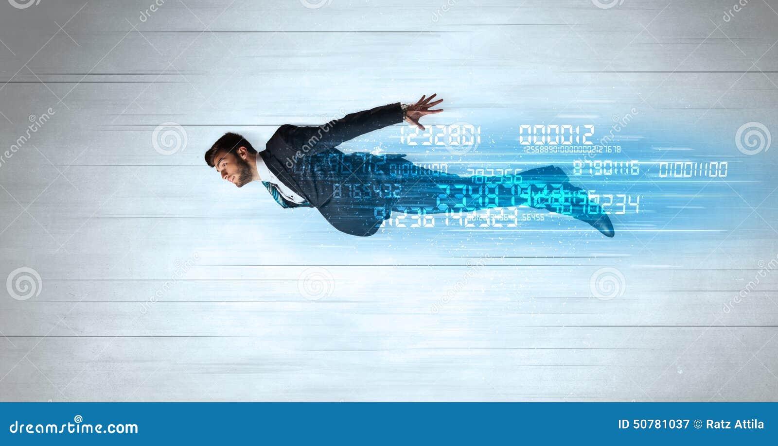Voler d homme d affaires superbe rapidement avec des données numérote à gauche derrière