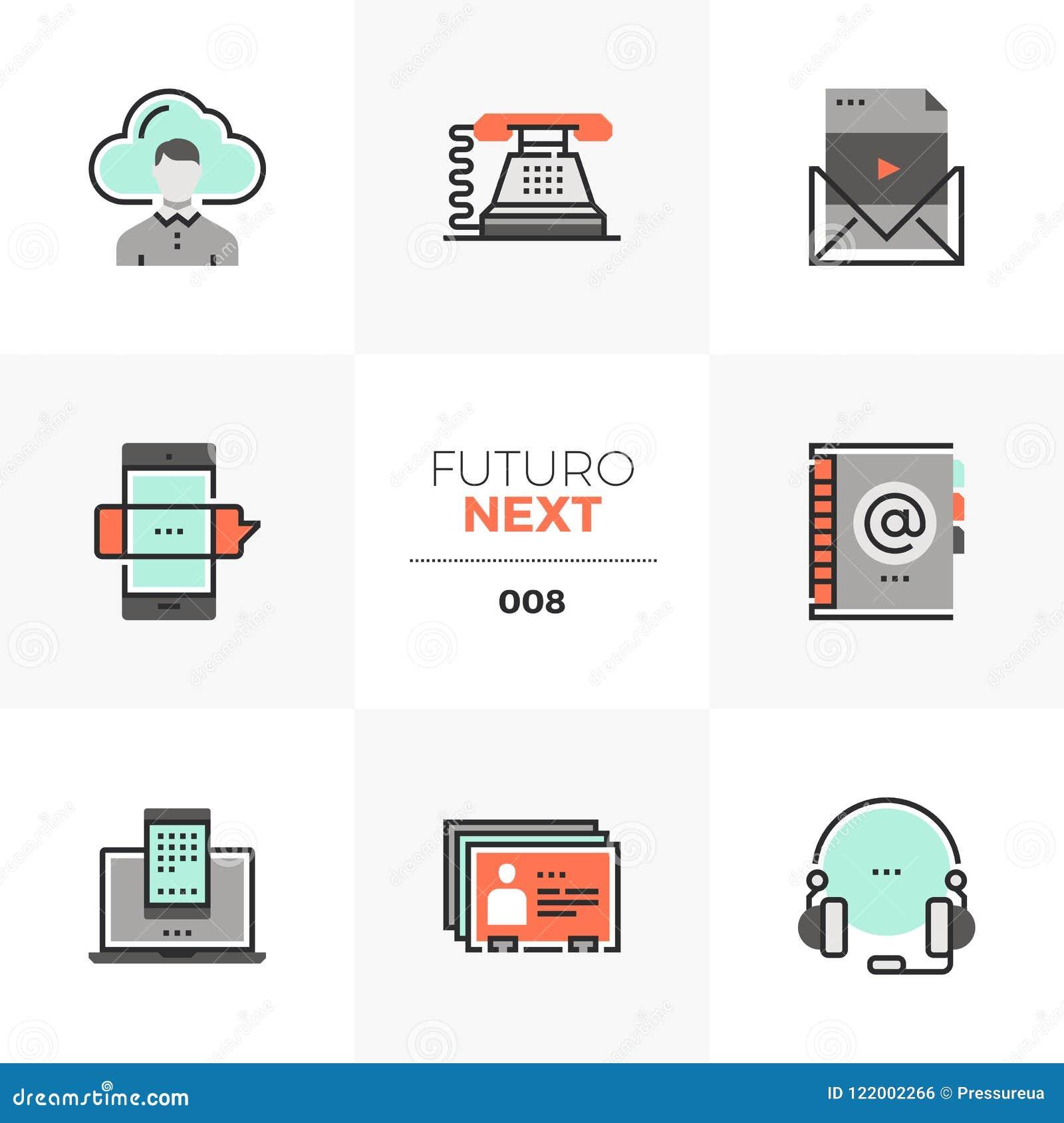 Volgende Pictogrammen van bedrijfs de Communicatie Futuro