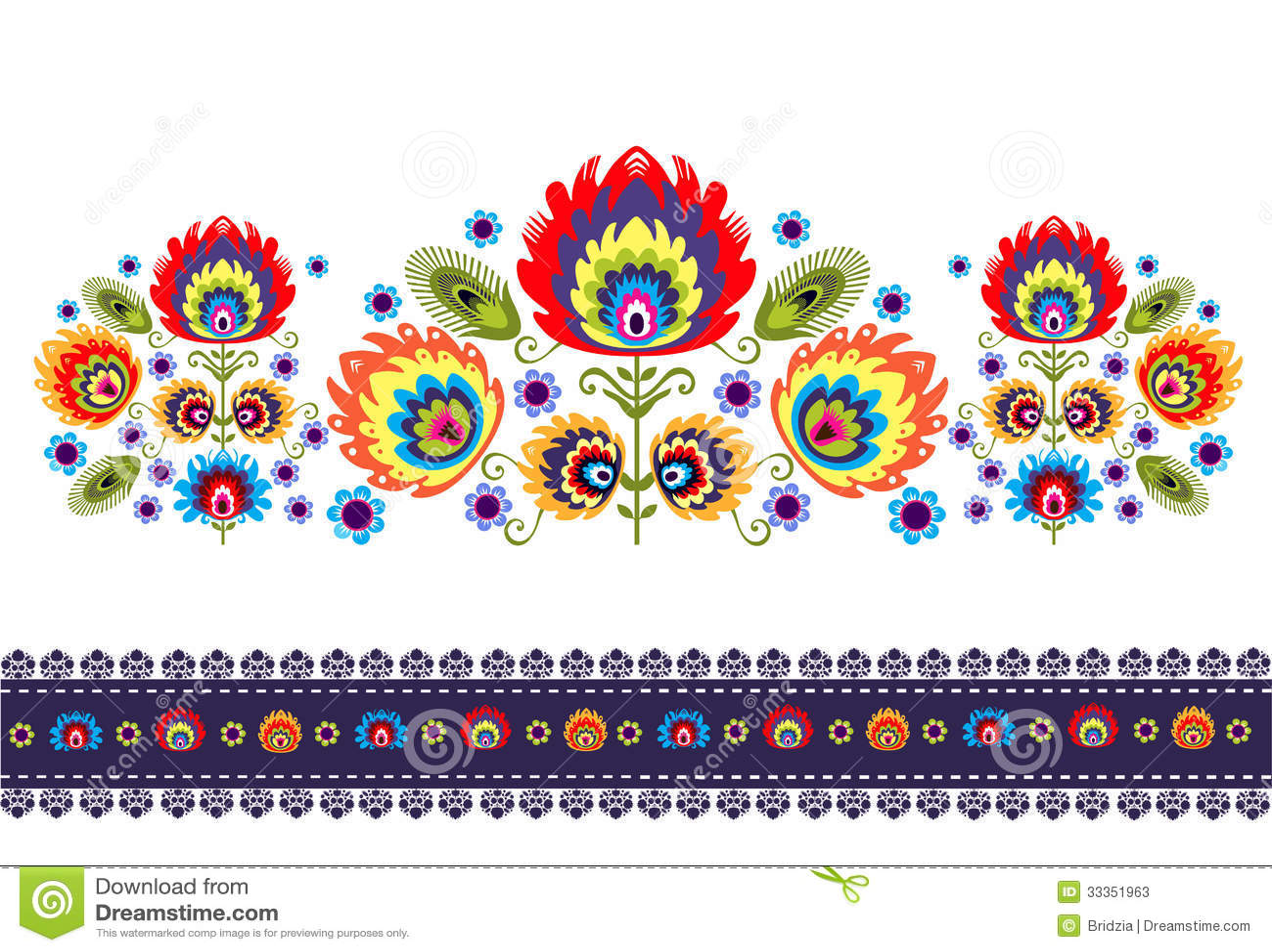 Volksmuster mit Blumen
