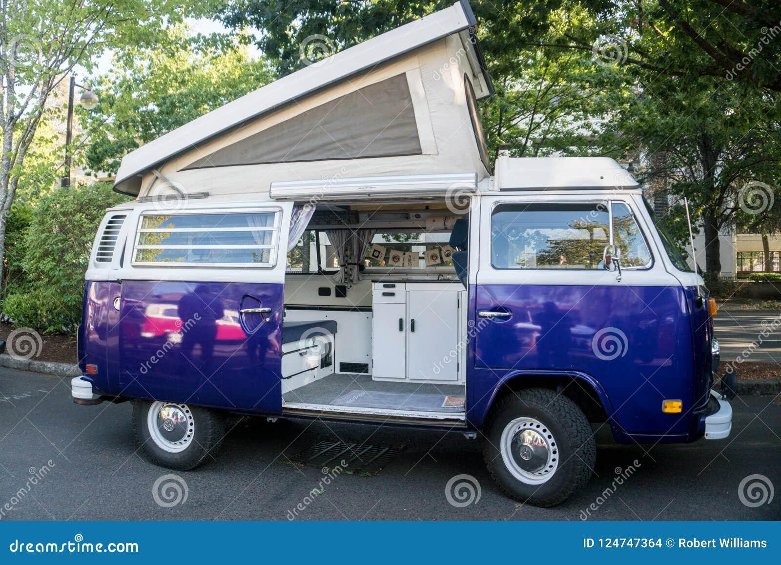 volkswagen bus camper van. editorial stock image. image of travel