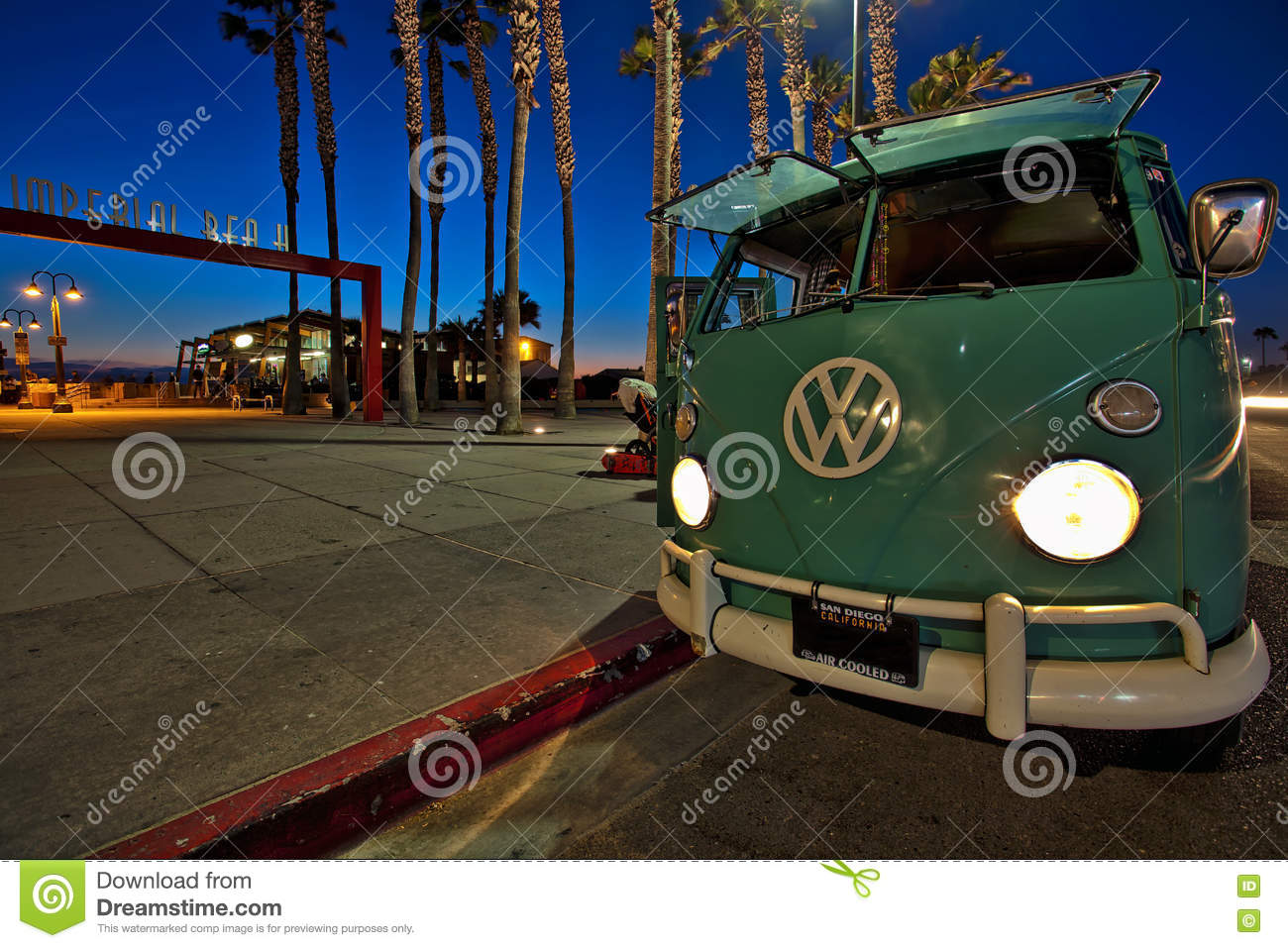 Volkswagen Bus At The Imperial Beach Pier, California