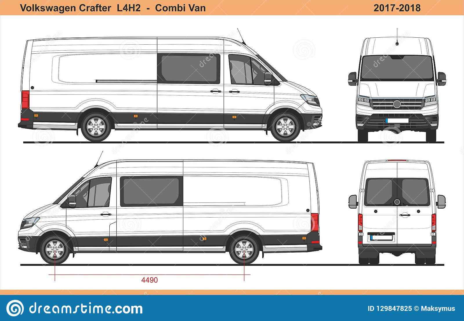 volkswagen crafter combi van l4h2 2017 2018 editorial. Black Bedroom Furniture Sets. Home Design Ideas