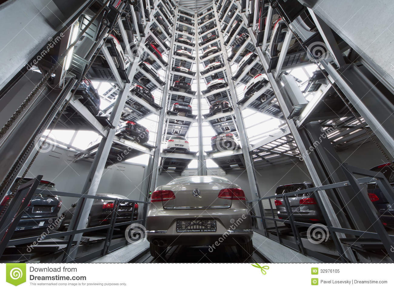 Volkswagen Passat In The Center Of The Tower To Store Cars Editorial Image - Image: 32976105