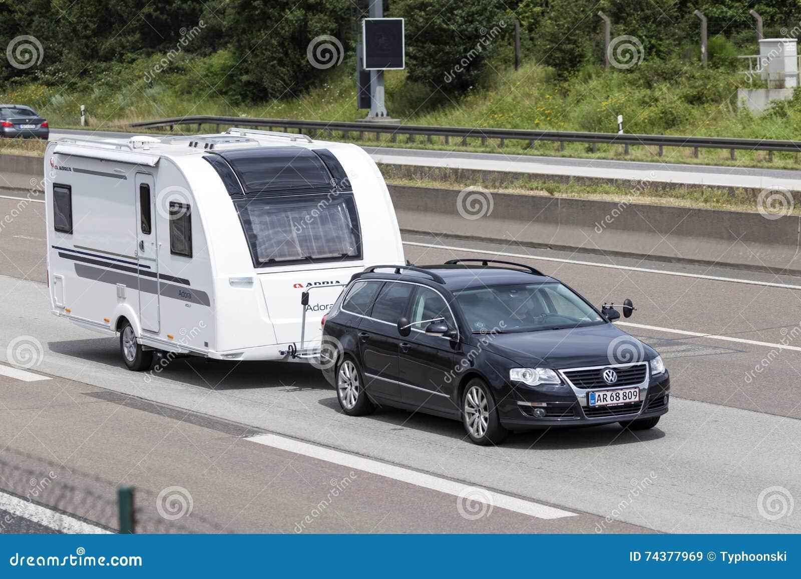 Volkswagen Passat Towing A Caravan Editorial Stock Image Image Of