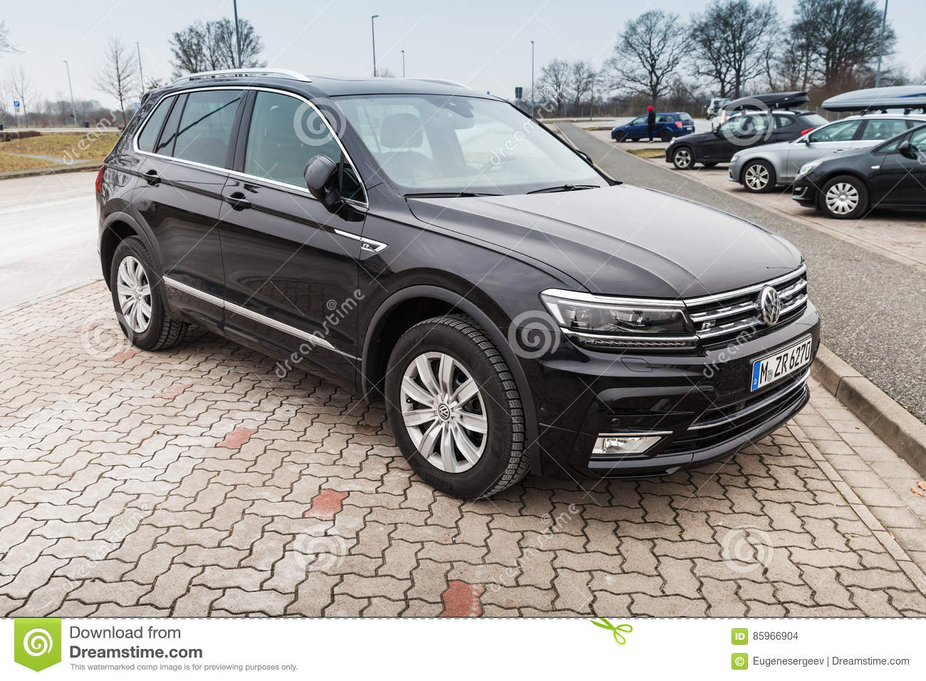 volkswagen tiguan 4x4 r line black editorial stock image. Black Bedroom Furniture Sets. Home Design Ideas