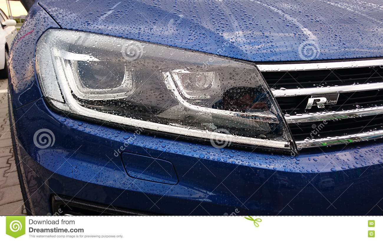 Volkswagen Touareg R Line Headlight Editorial Stock Photo