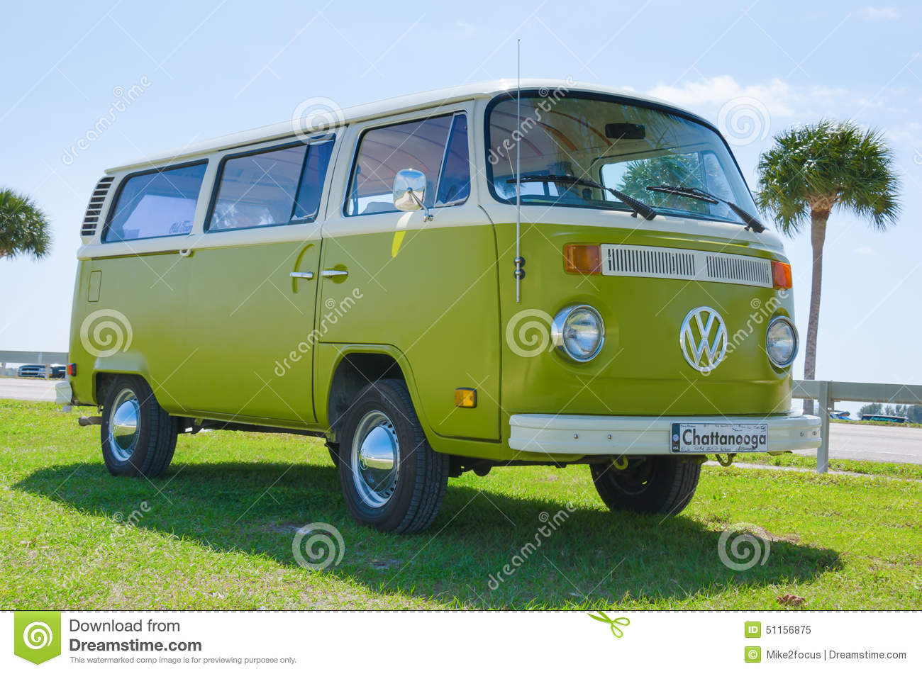 Volkswagen VW Camper Van Antique Car Green White Editorial Image
