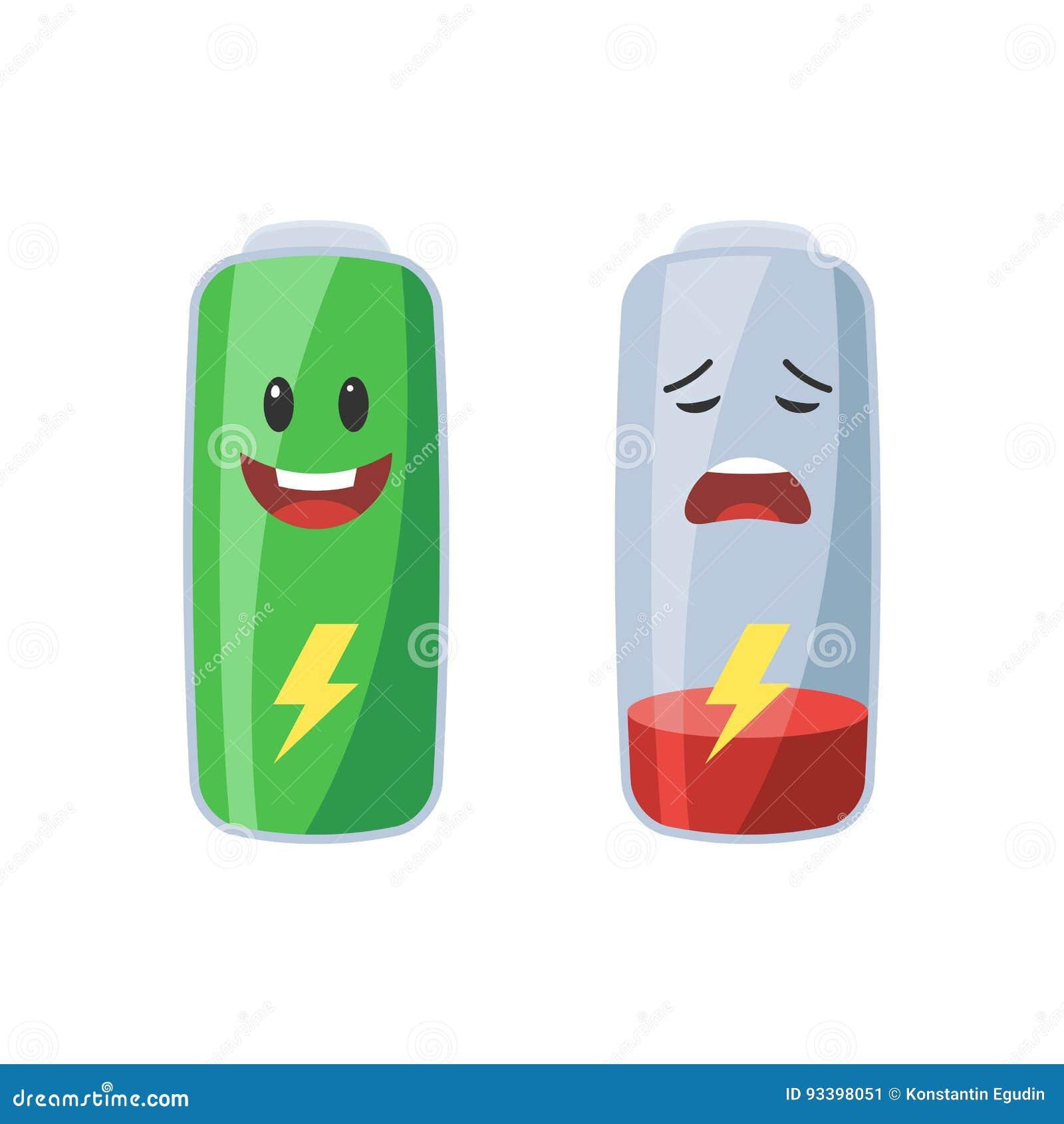 Voll und schwache Batterie
