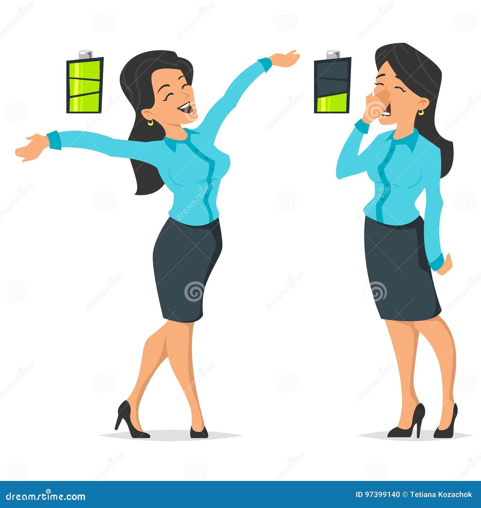 Voll von der Energiegeschäftsfrau und von müder oder bohrender Frau