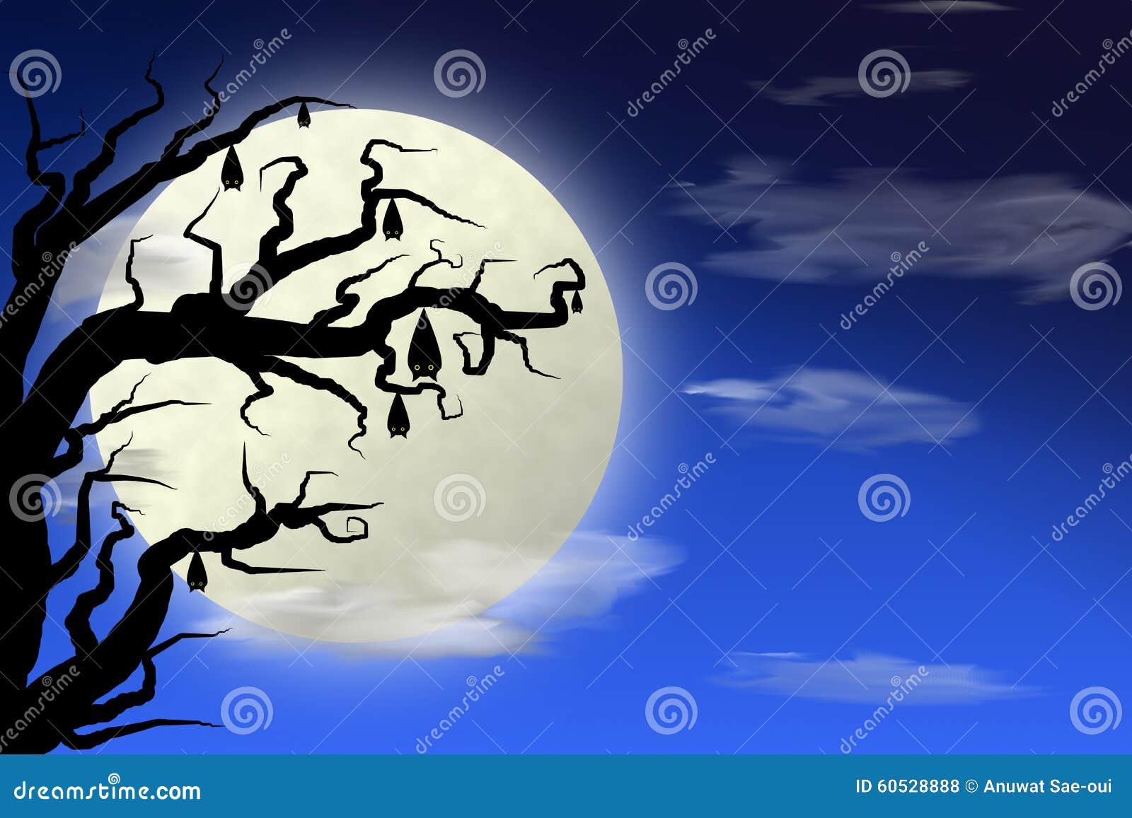 Volle maan en knuppel op boom met donkerblauwe hemel