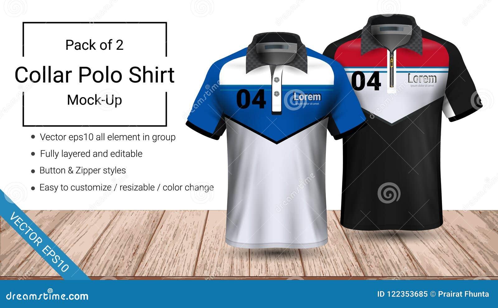 Volledig gelaagd de t-shirtmalplaatje van de polokraag, Vectoreps10-dossier en editable bereid geweest om het douaneontwerp te de