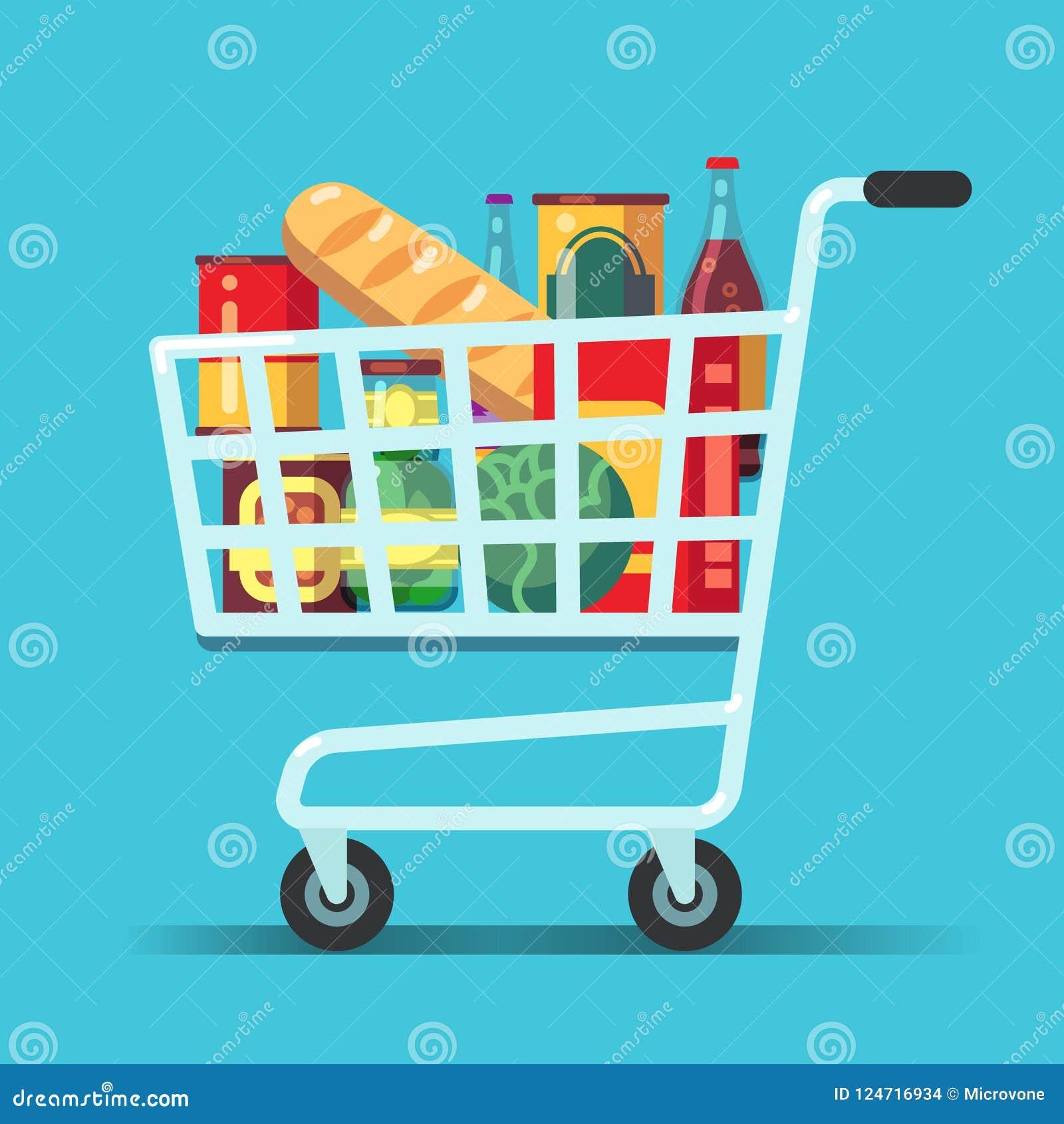 Volledig supermarktboodschappenwagentje Winkelkarretje met voedsel Het vectorpictogram van de kruidenierswinkelopslag