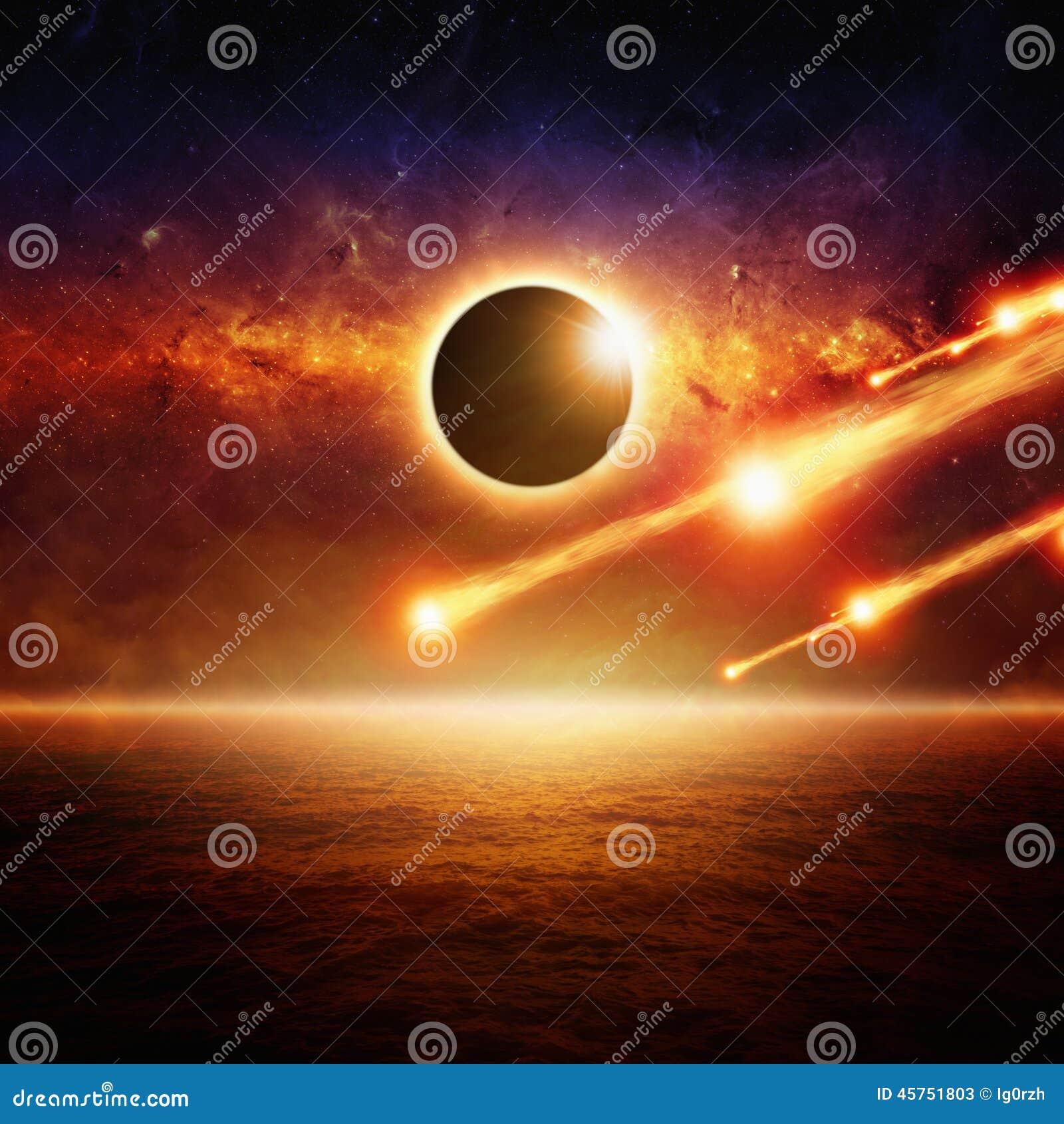 Volledige zon eclipce, stervormig effect