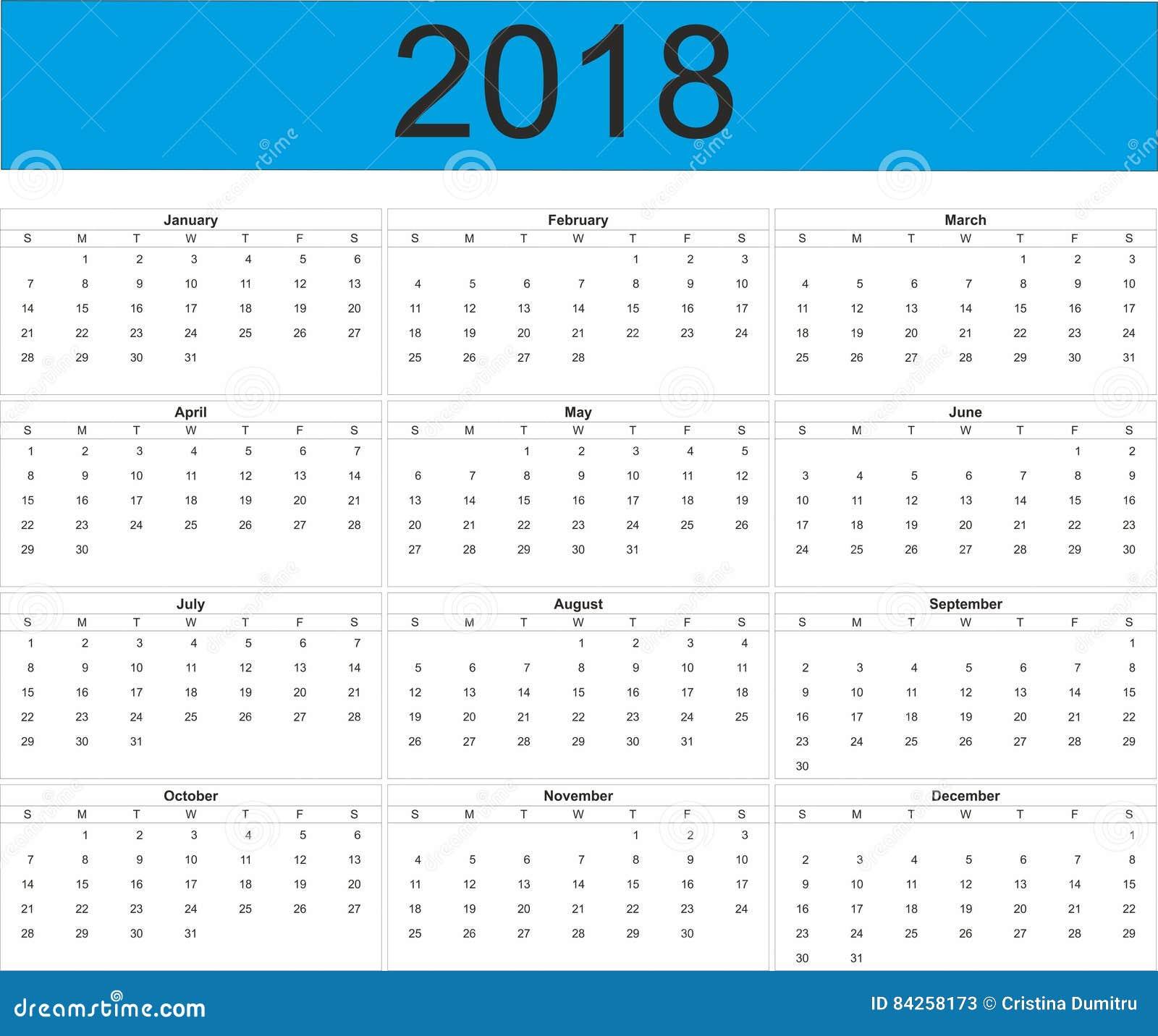 voller kalender des jahr 2018 stock abbildung. Black Bedroom Furniture Sets. Home Design Ideas