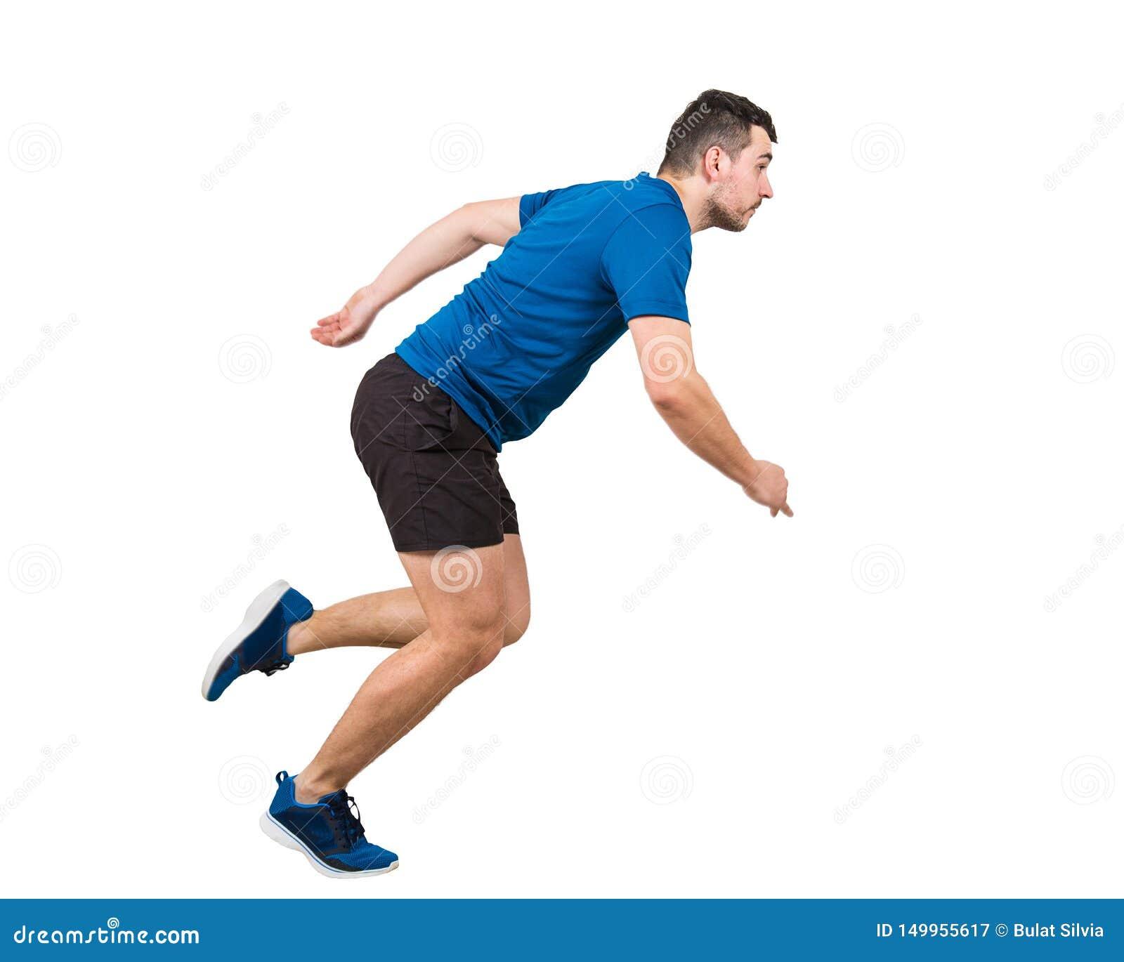 In voller Länge vom entschlossenen kaukasischen Laufen der schnellen Geschwindigkeit des Mannathleten lokalisiert über weißem Hin