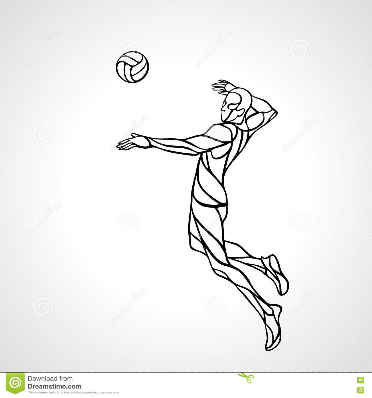 Volleyball attacker player outline silhouette. Eps vector