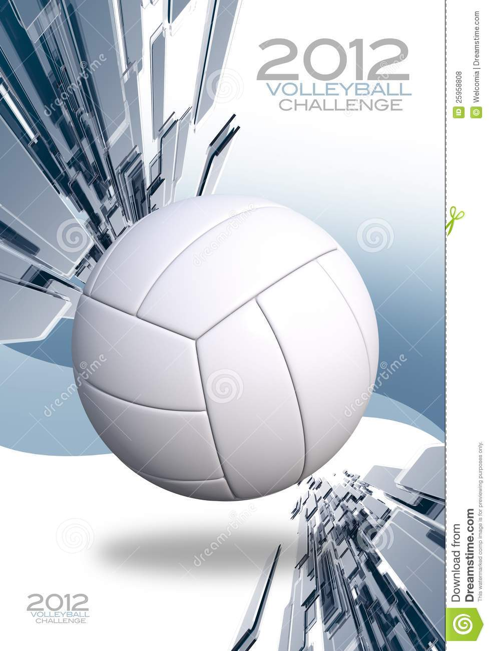 Light Blue 3D Volleyball Tournament Background. Vertical Volleyball ...