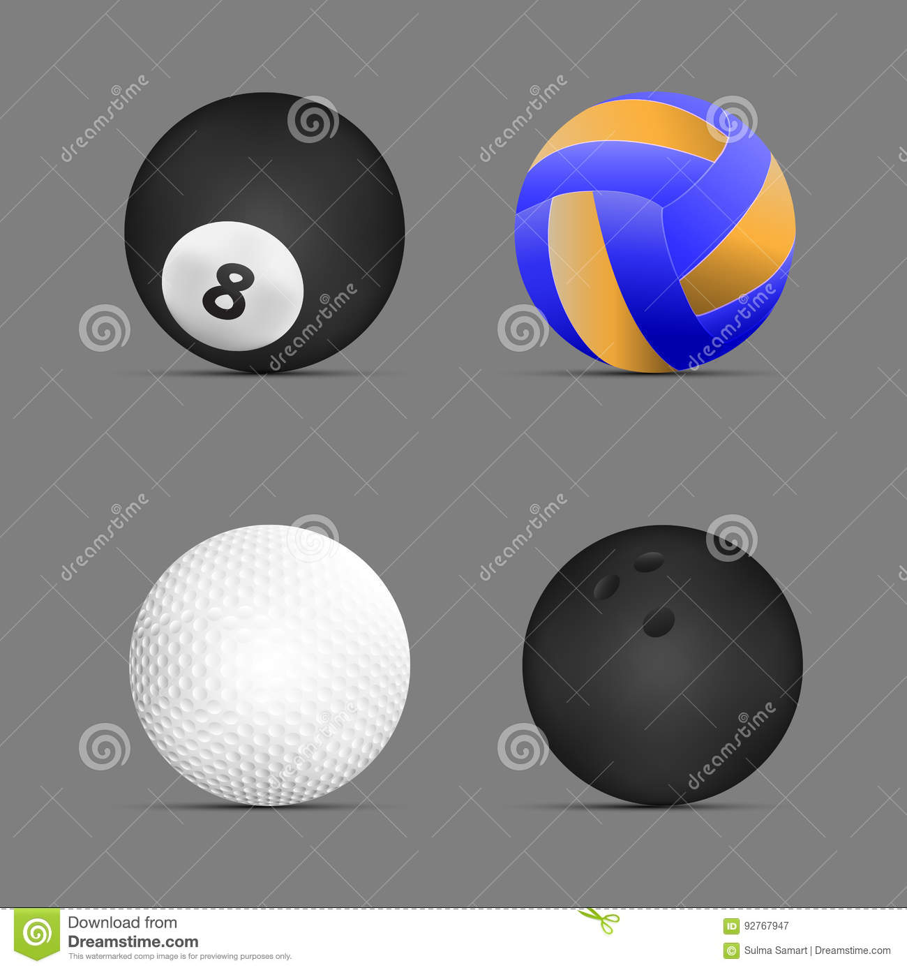 Volleyball ball billiards golf bowling