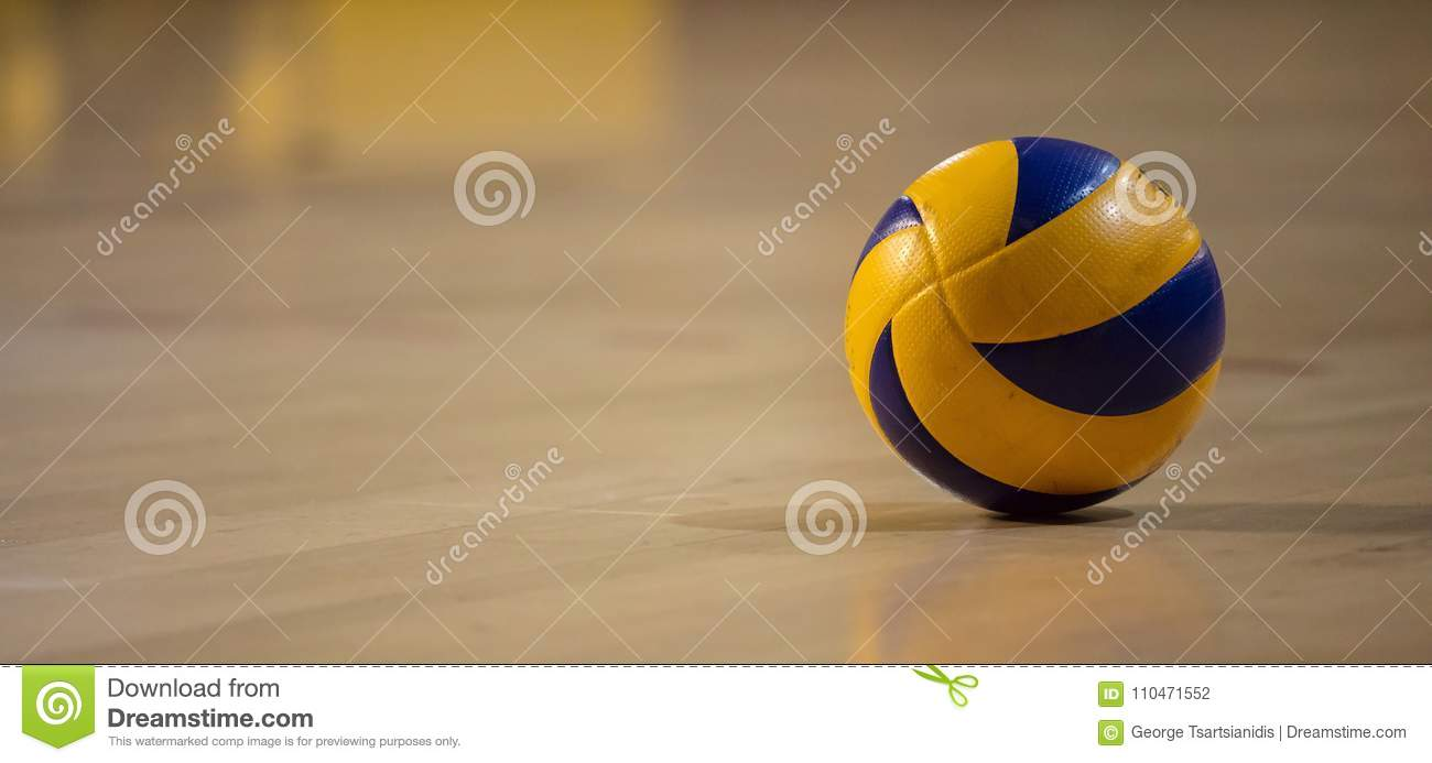 Background Abstract Sport Volleyball Blue Yellow Ball: Volleyball Banner Stock Photos