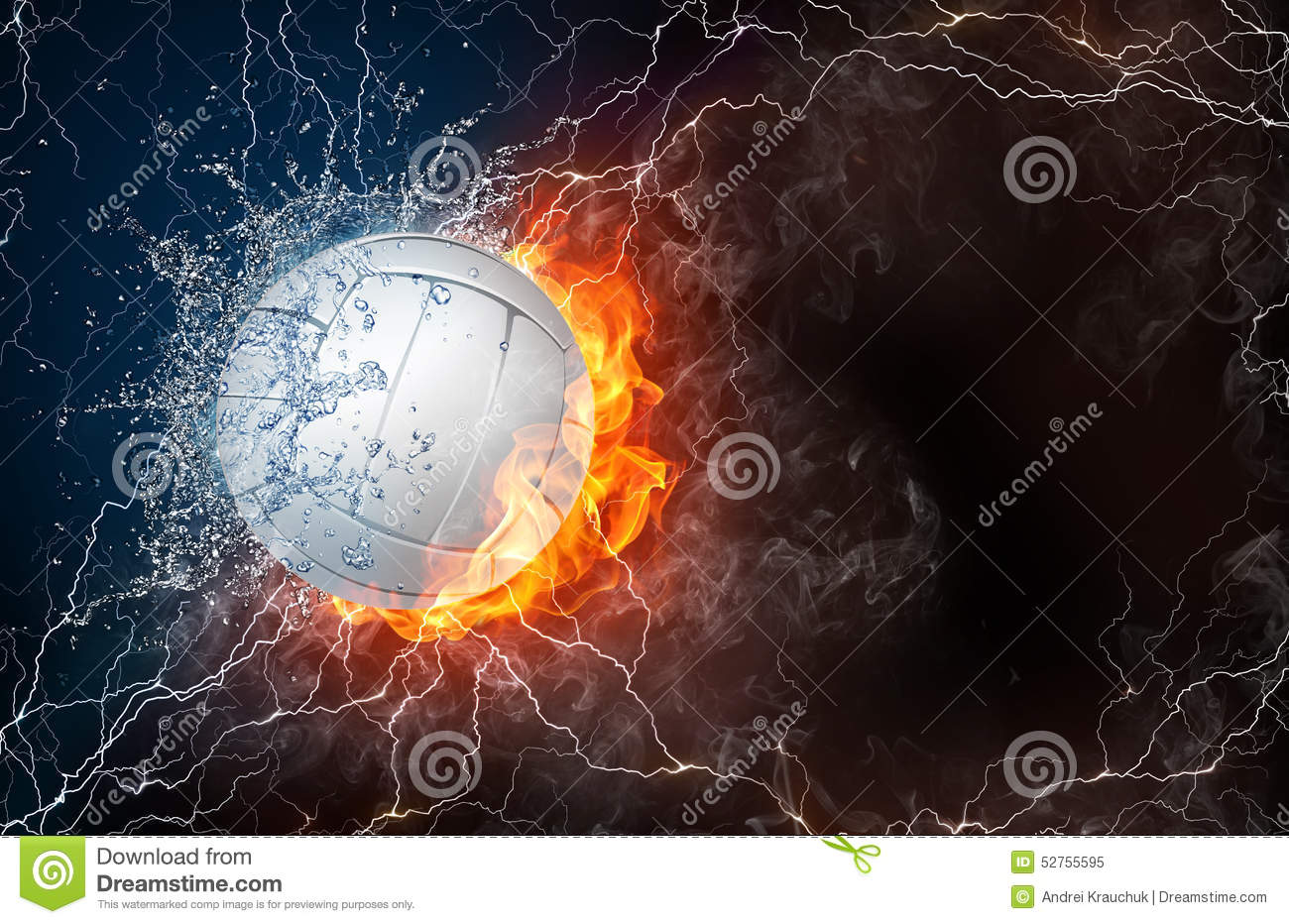 Volleyball Ball In Fire And Water Stock Illustration - Image: 52755595