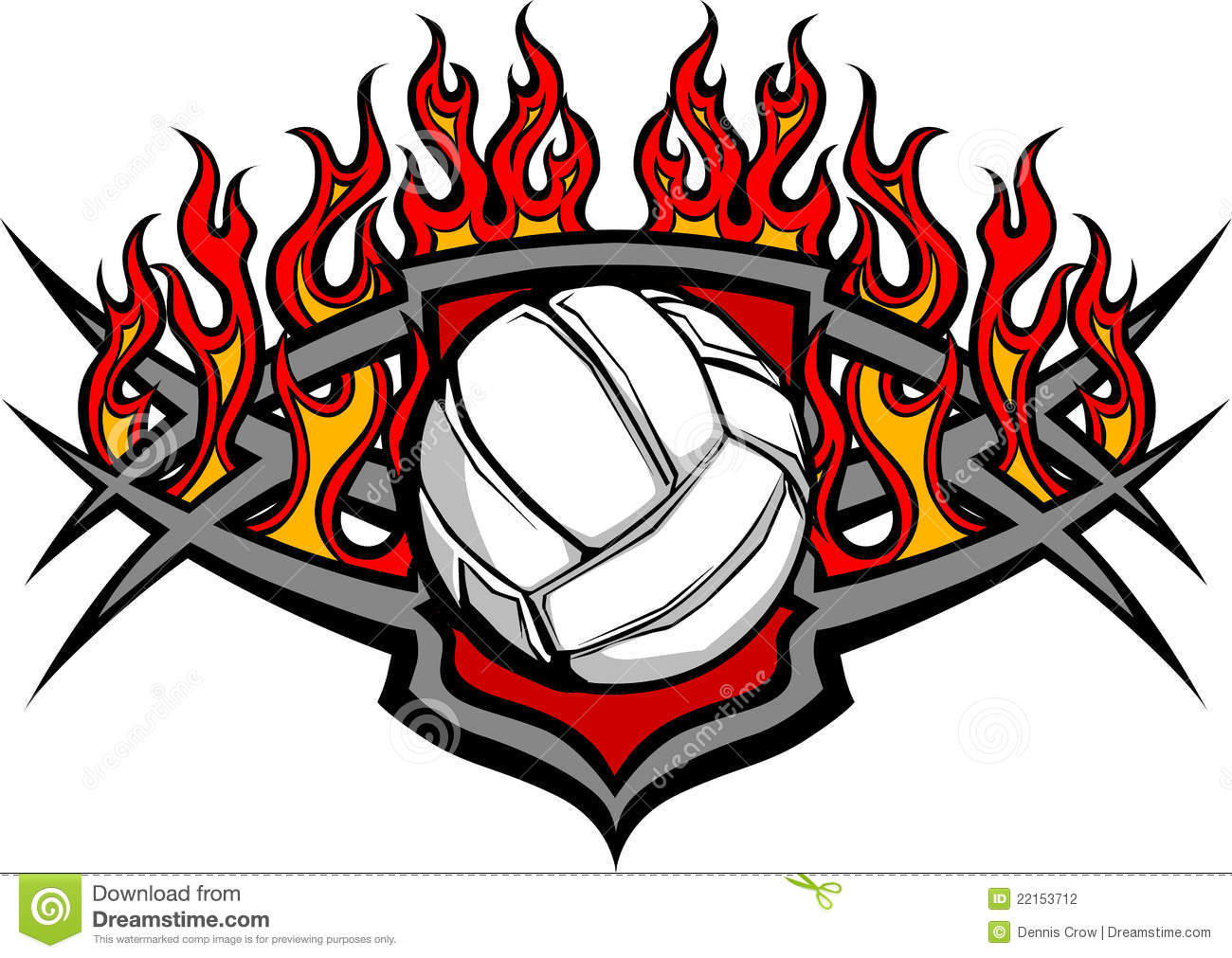 Volleyball Ball Template With Flames Image Stock Photography - Image ...