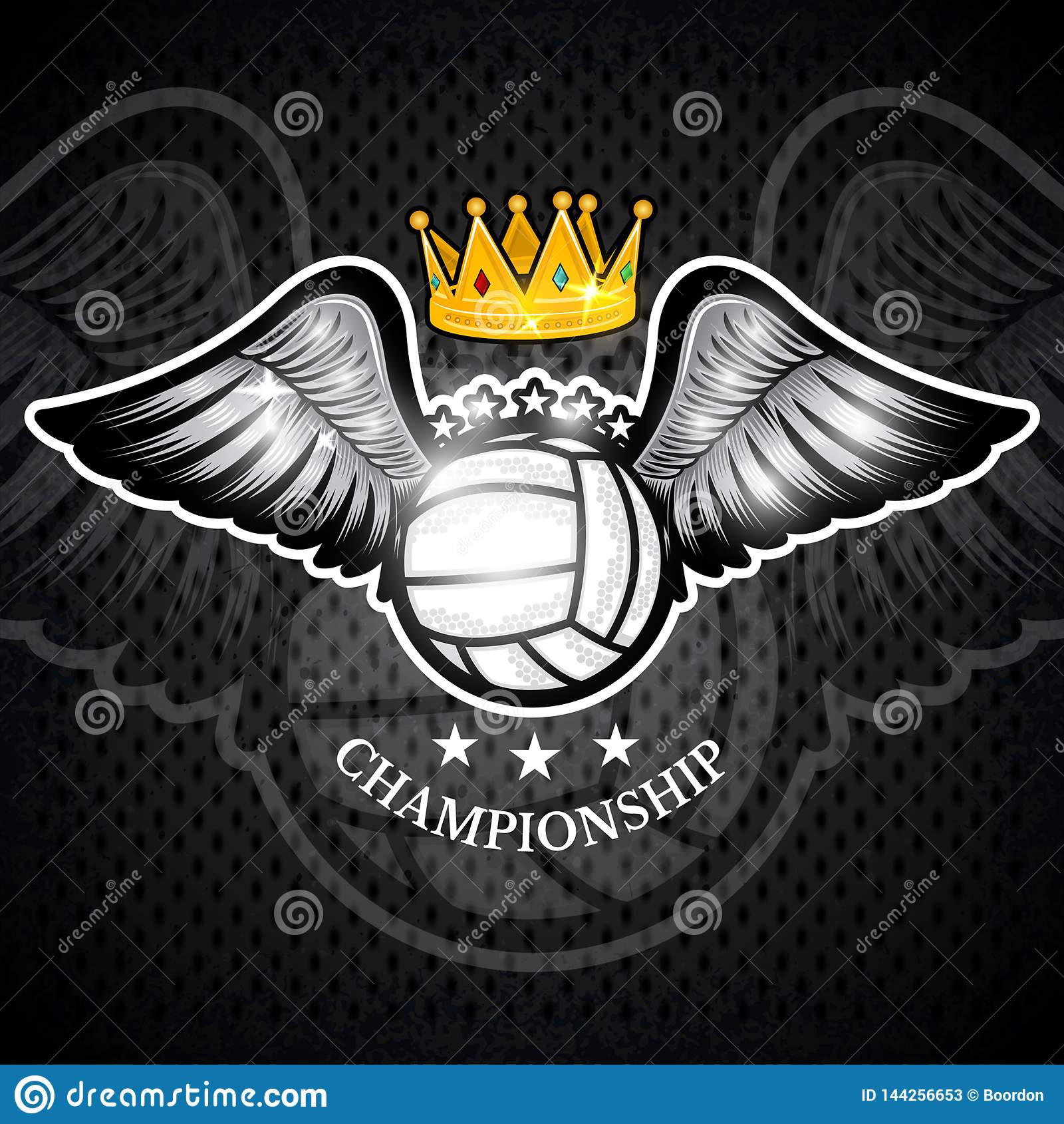 Volleyball ball with wings and crown. Vector sport logo for any team
