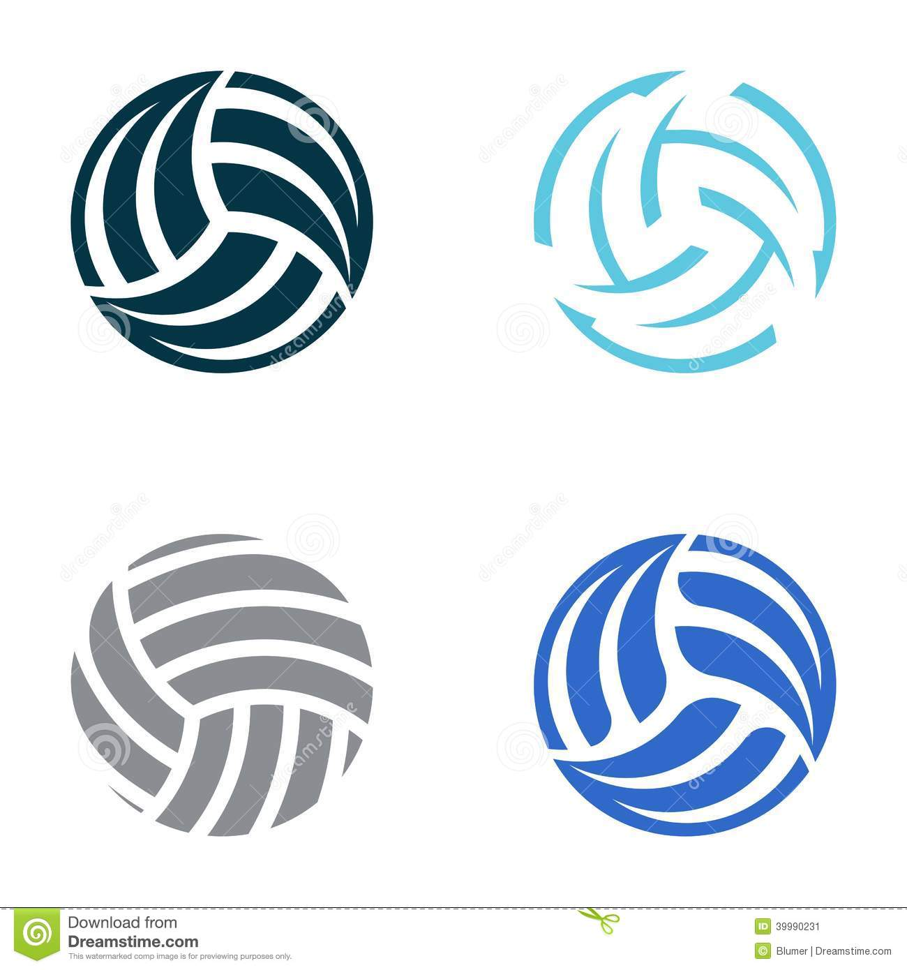 Set of four volleyball ball abstract icons.