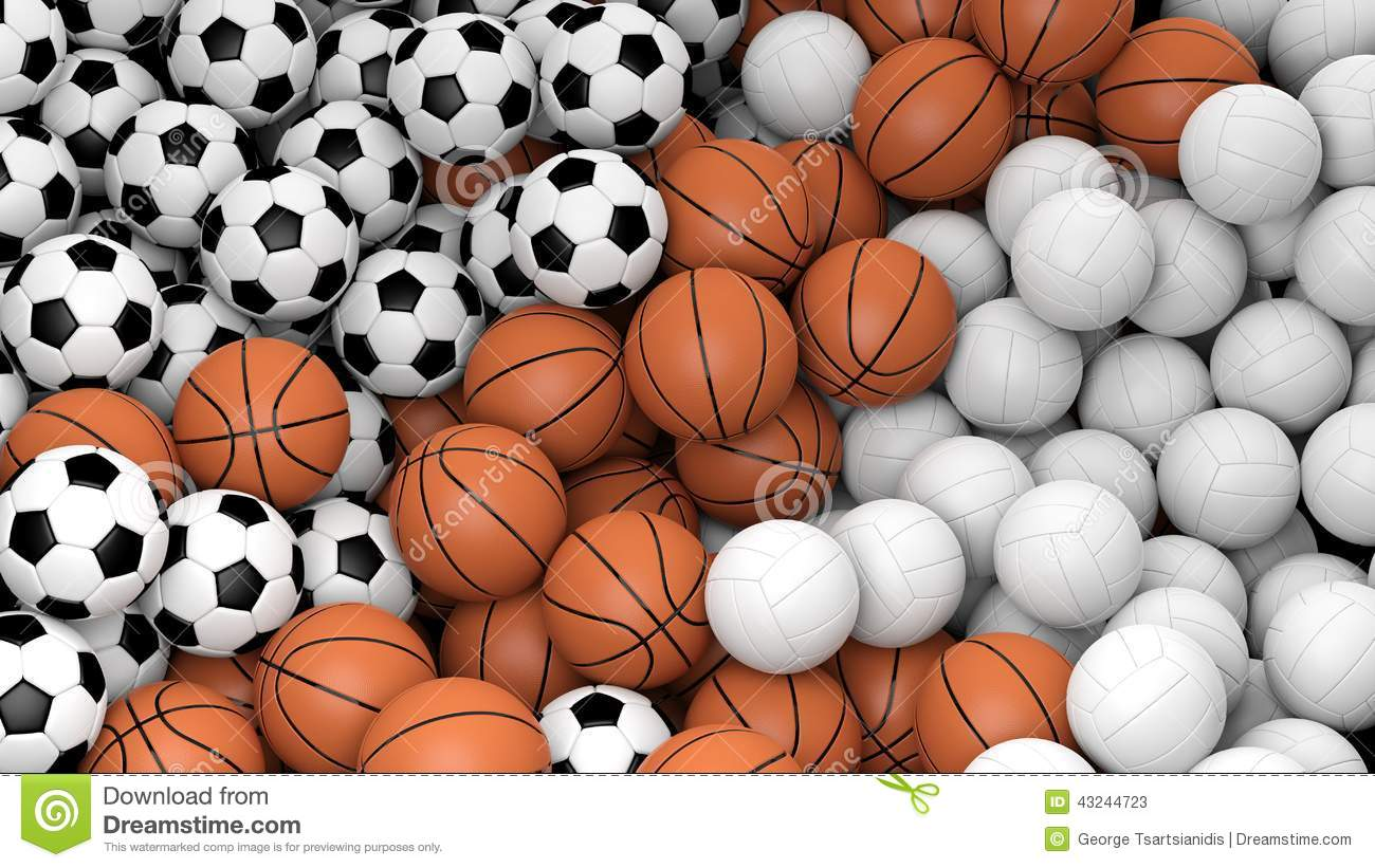 Volleyball, Basketball And Soccer Balls Stock Illustration - Image ...