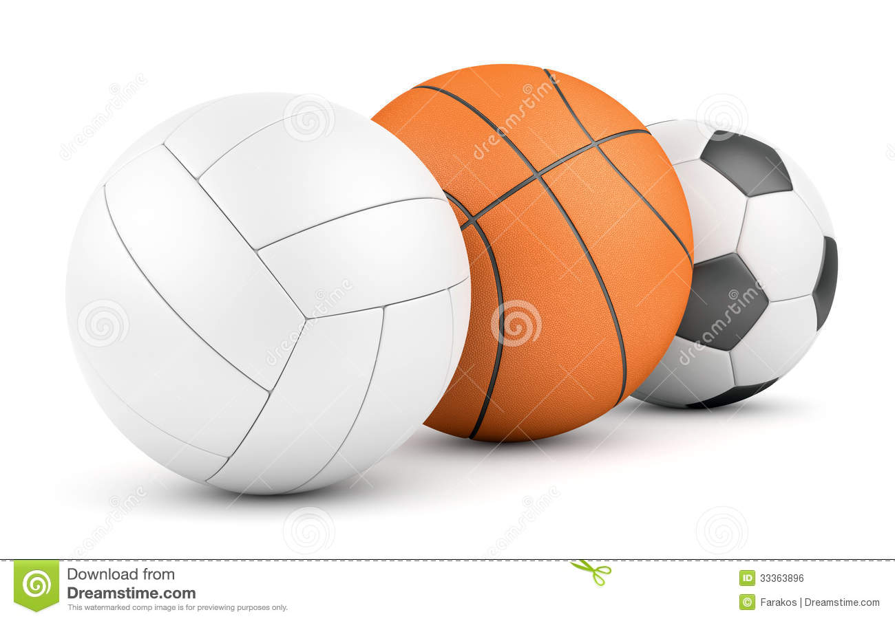 Volleyball, Basketball And Soccerball In Row Royalty Free Stock Image ...