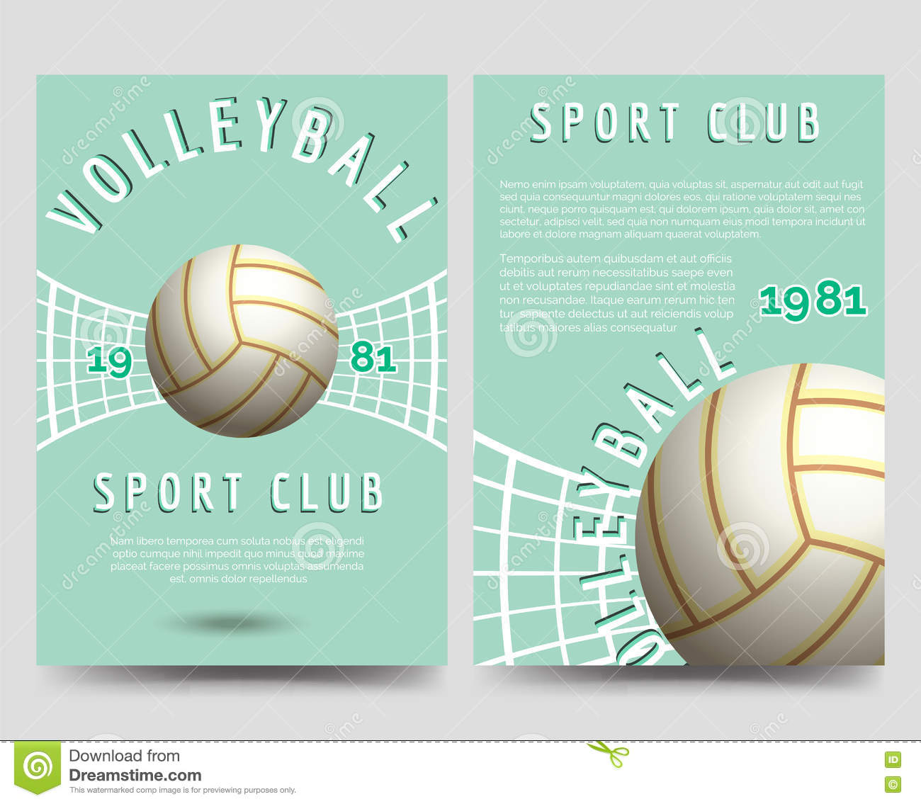 volleyball brochure flyer template stock vector image  volleyball brochure flyer template