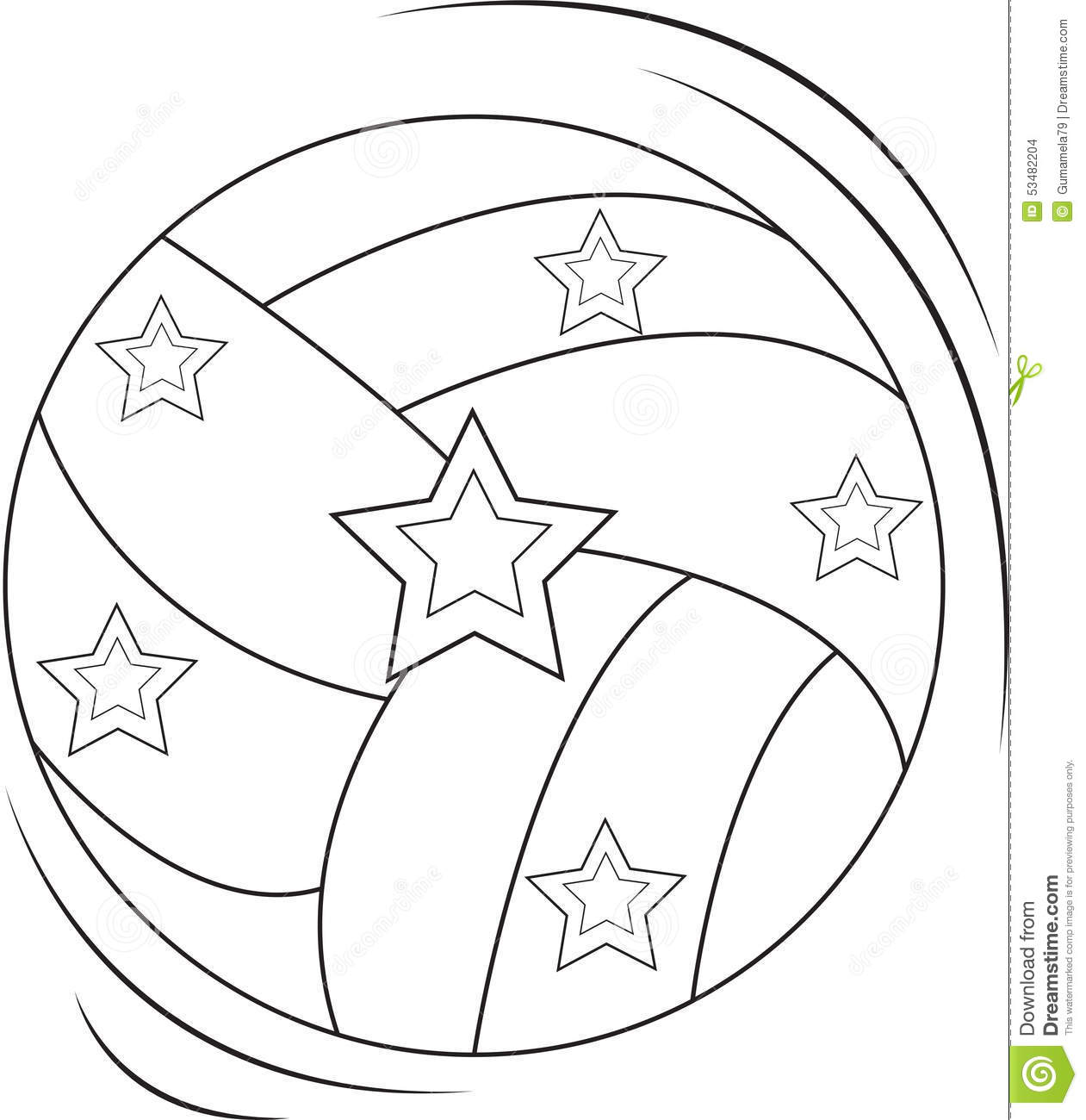 Volleyball Coloring Page Stock Illustration Image 53482204