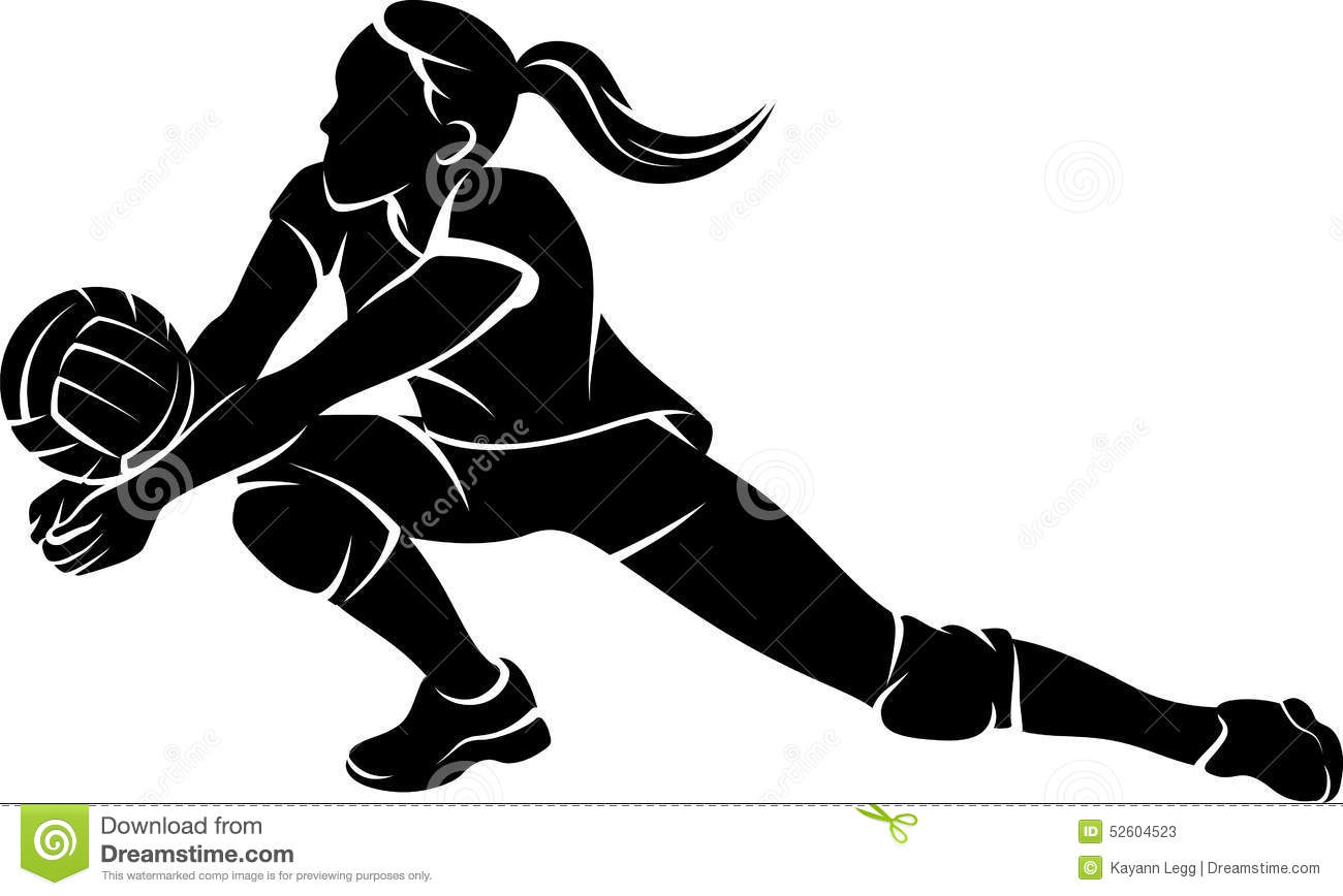 Illustration Abstract Volleyball Player Silhouette: Volleyball Dig Girl Silhouette Stock Vector