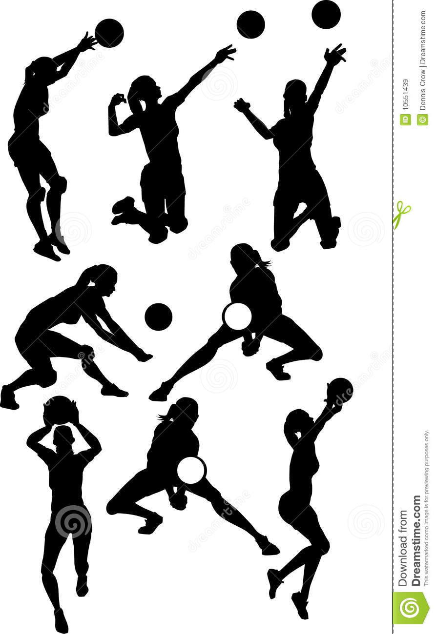 Volleyball Female Silhouettes Royalty Free Stock Images Image 10551439