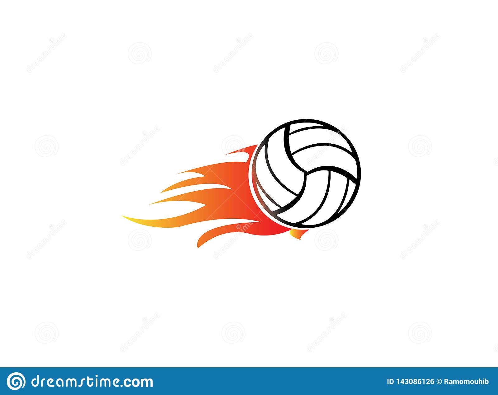 Volleyball With Fire And Flame For Logo Design Stock Illustration Illustration Of Flame Competition 143086126