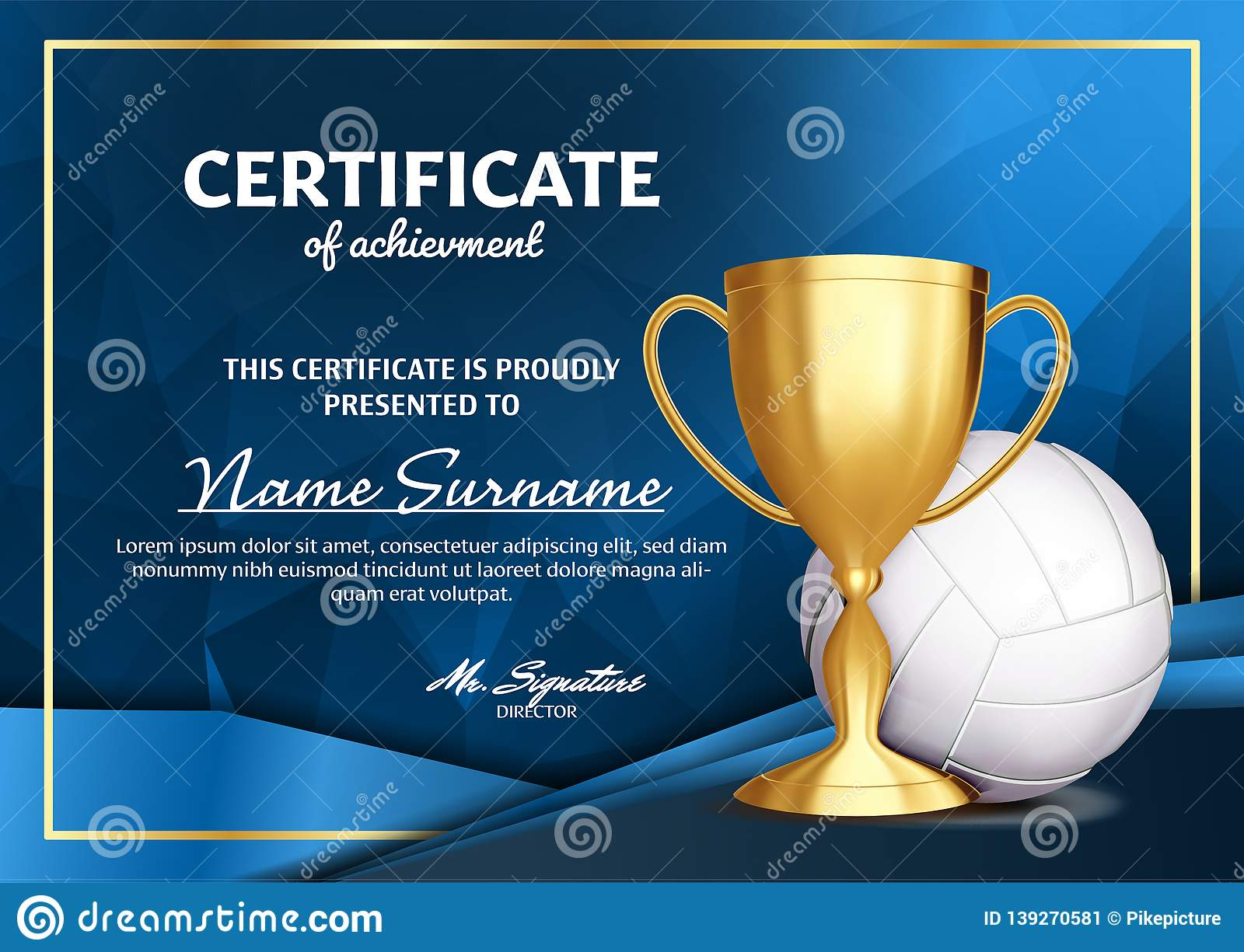 volleyball certificate diploma with golden cup vector