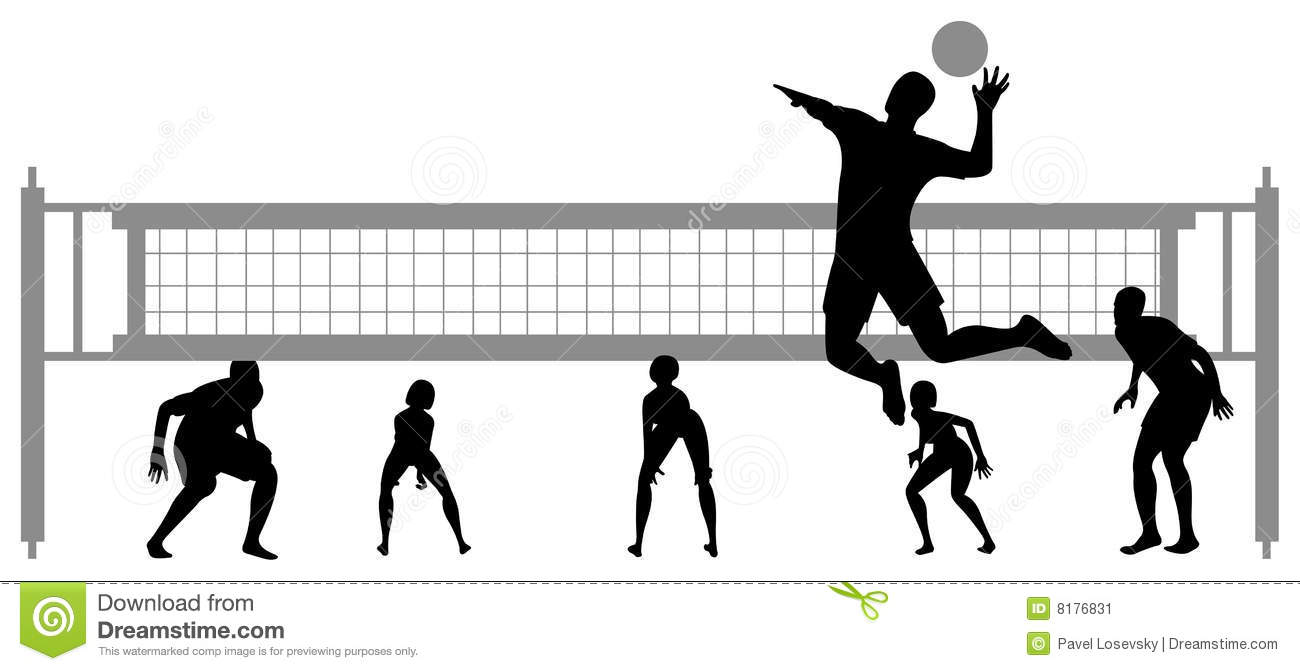 Abstract Triangle Volleyball Player Silhouette Stock: Volleyball Game Silhouette 2 Stock Image