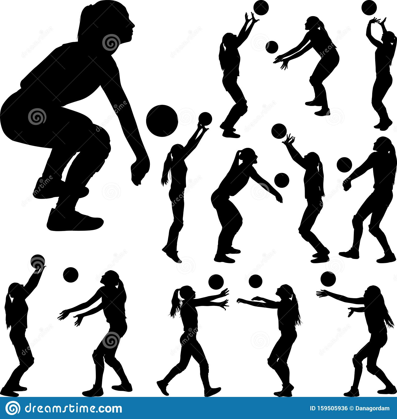 Volleyball Silhouette Vector at GetDrawings | Free download