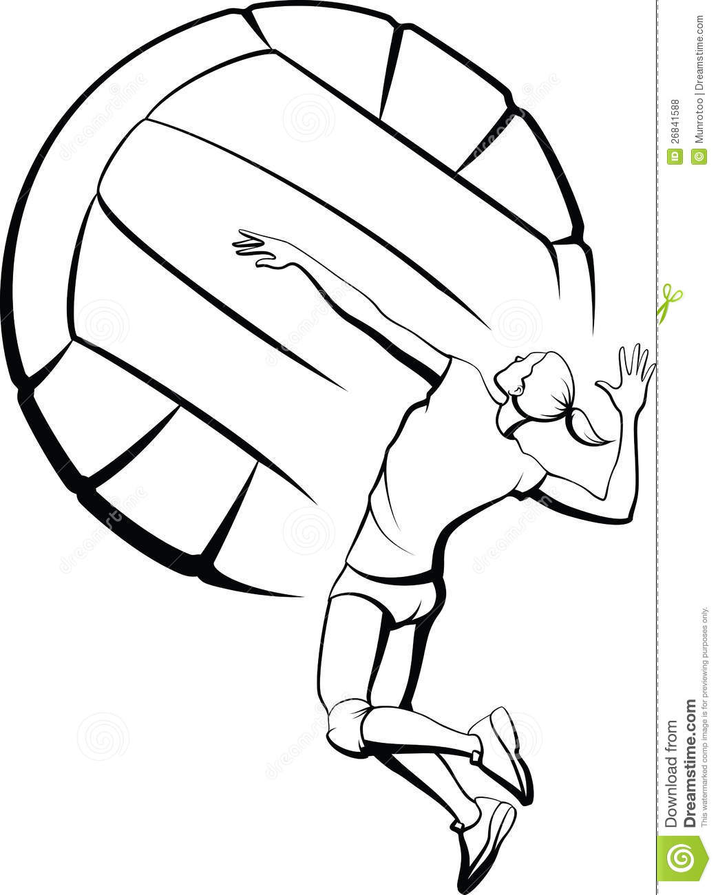Line Art Download : Volleyball girl spiking royalty free stock photos image